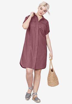 Button Front Linen Shirtdress,