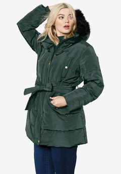 Belted Puffer Coat, DEEP EMERALD
