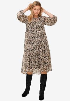 Sheer Overlay Tiered Dress,