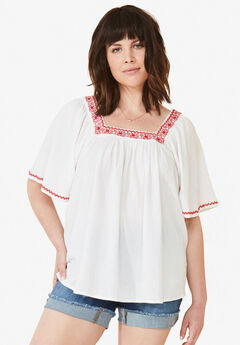 Embroidered Gauze Blouse,