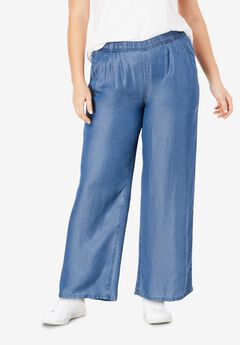 Wide Leg Elastic Waist Denim Pants,