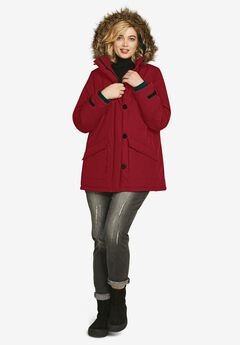 Faux Fur Trim Parka, RICH RED