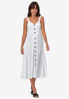 Button-Front A-Line Dress,