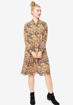 Tiered Button Placket Dress,