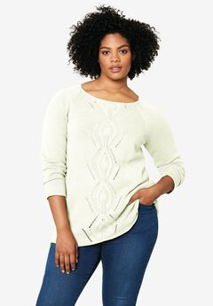 Ballet Neck Cable Front Sweater,