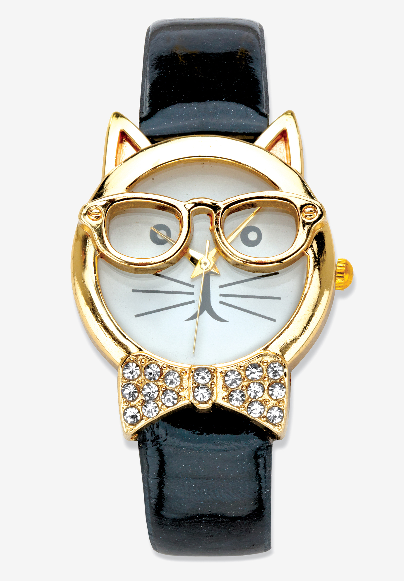 "Gold Tone Bowtie Cat Watch with Adjustable Black Strap 8"", BLACK"