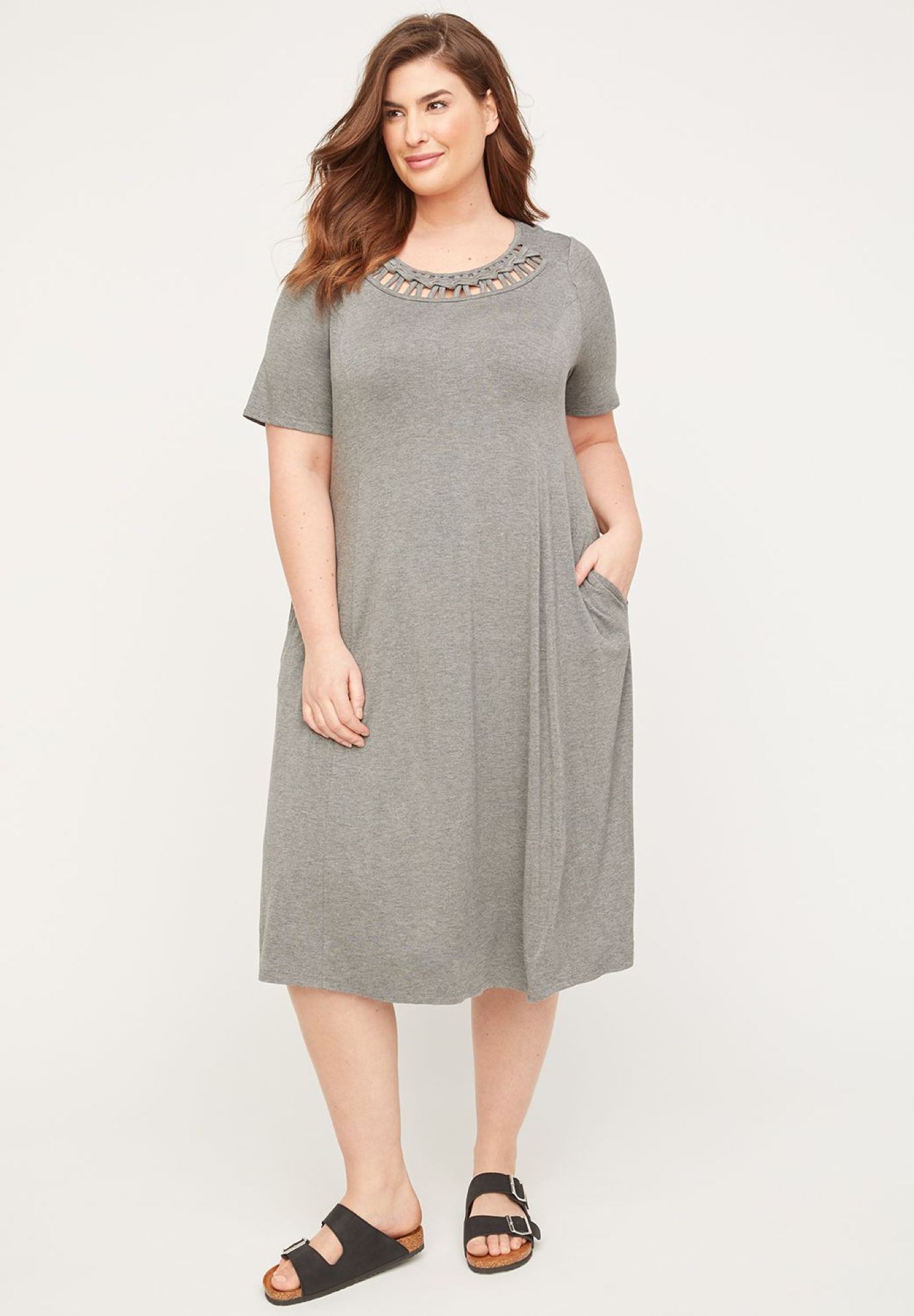 Braided Neck A-Line Dress (With Pockets),