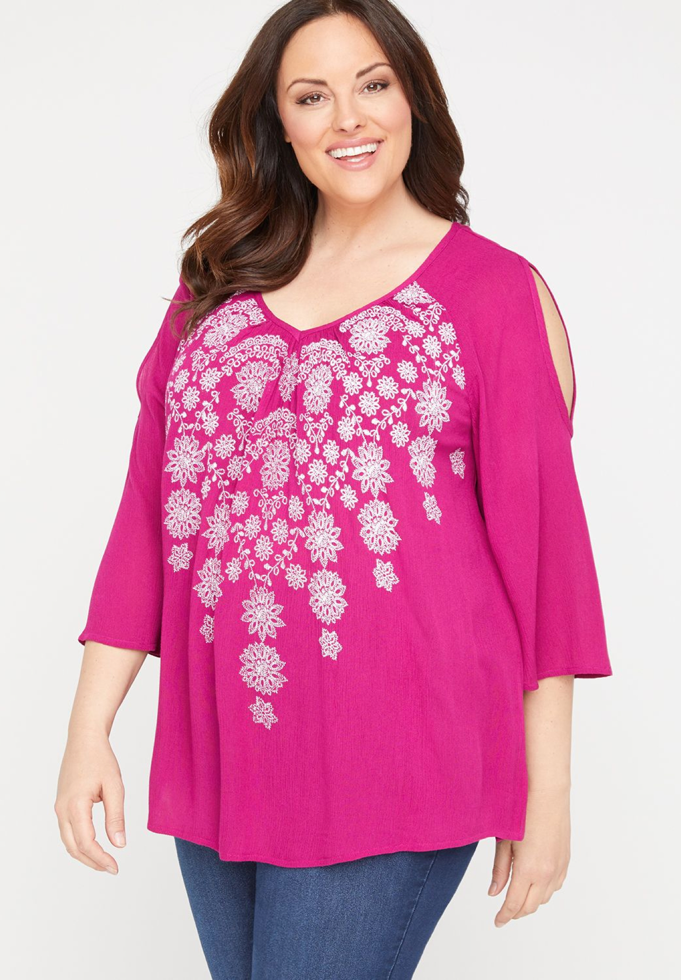 Embroidered Imprint Peasant Top,
