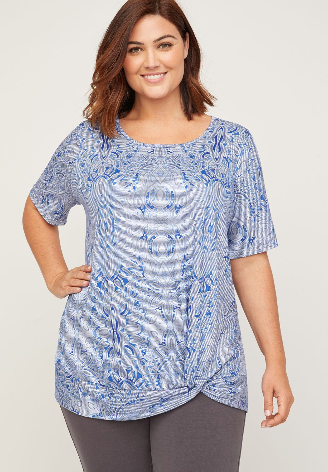 Floral Knot-Front Tee,