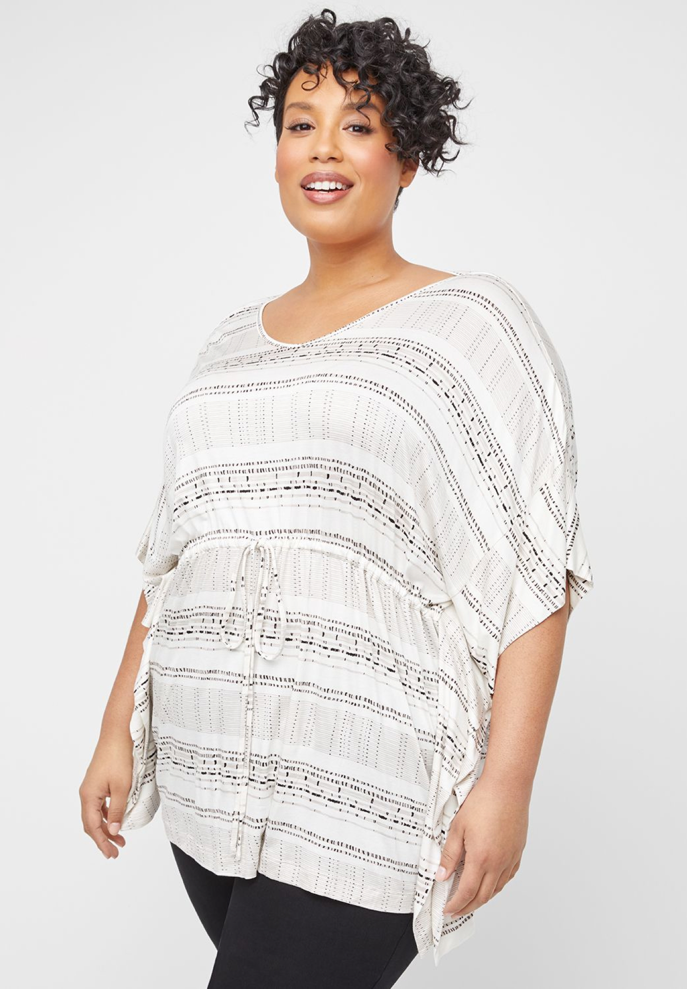 Dash-Stripe Poncho Tunic,