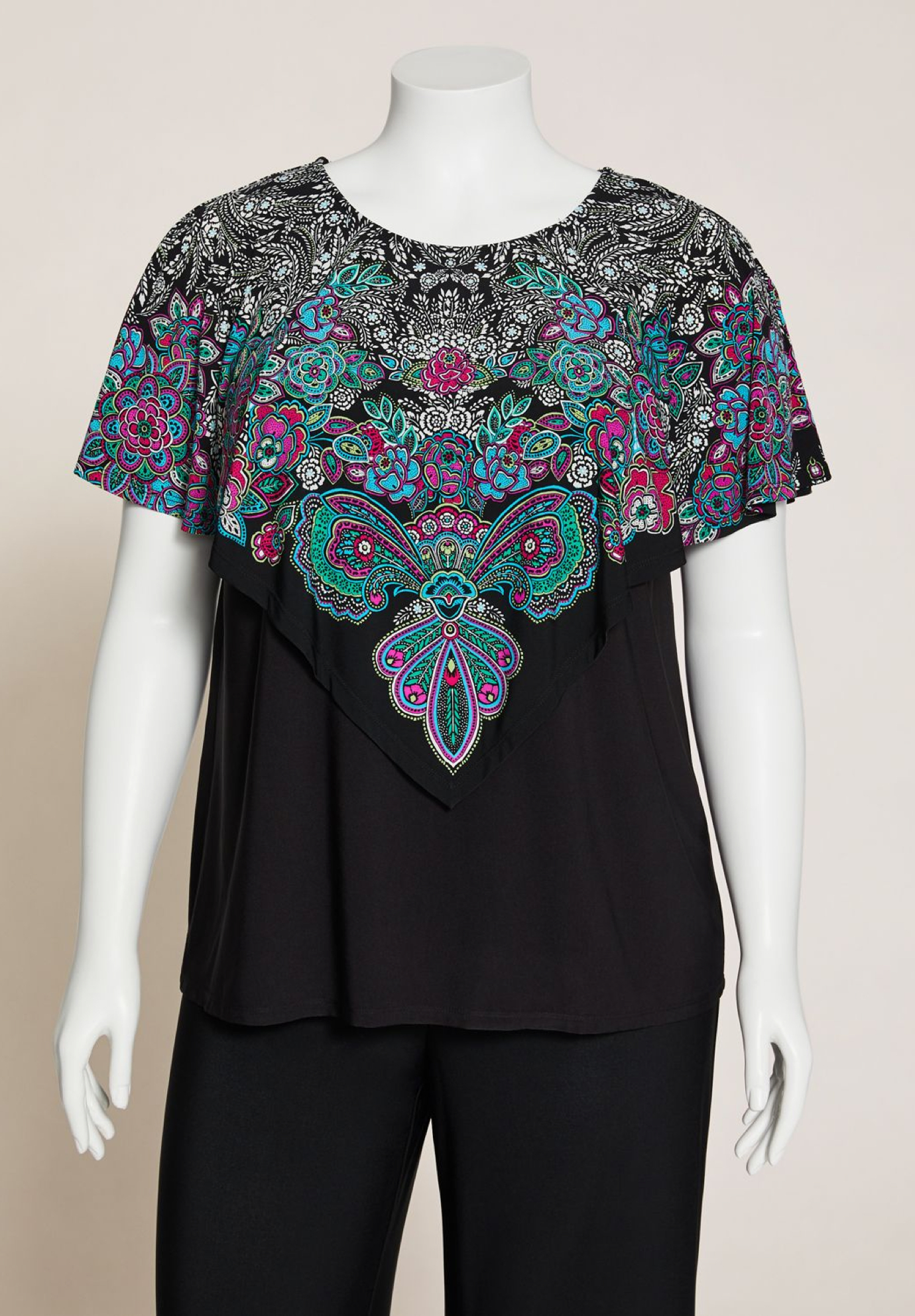 AnyWear Garden Paisley Layered Top,
