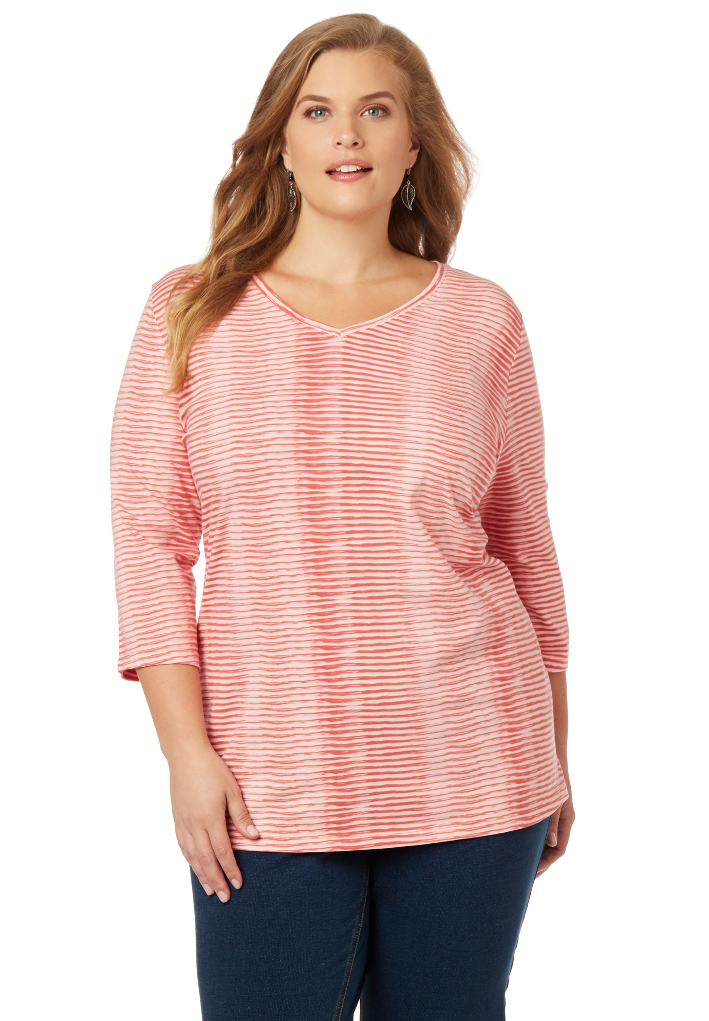 Striped 3/4-Sleeve Tee,