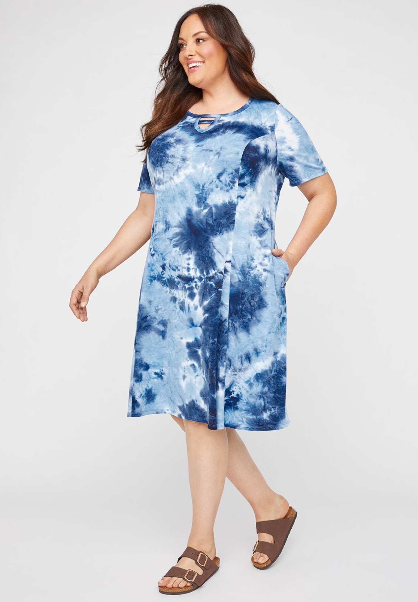 Lakeside Tie-Dye A-Line Dress (With Pockets),