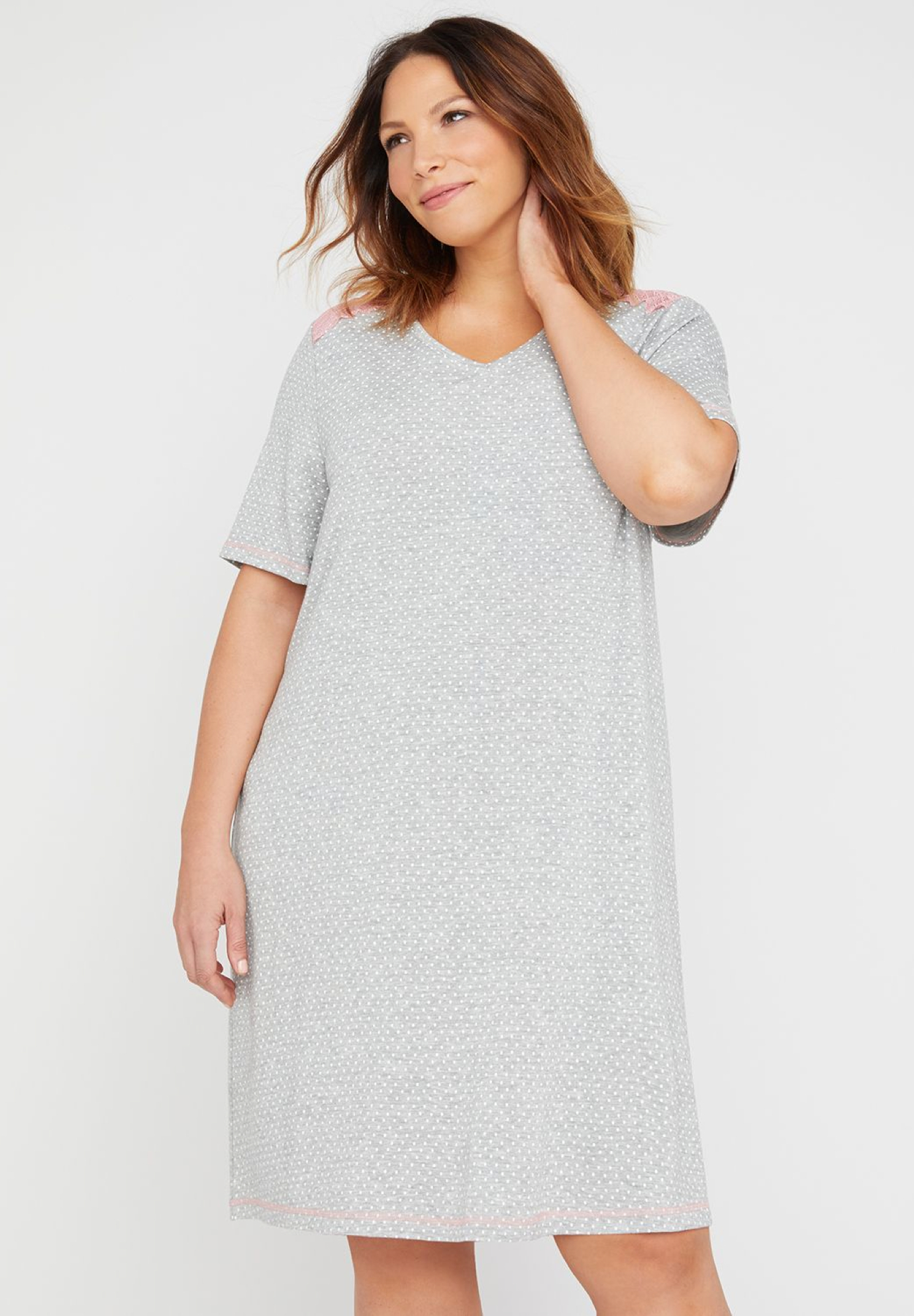 Pin Dot Sleepshirt with Lace,