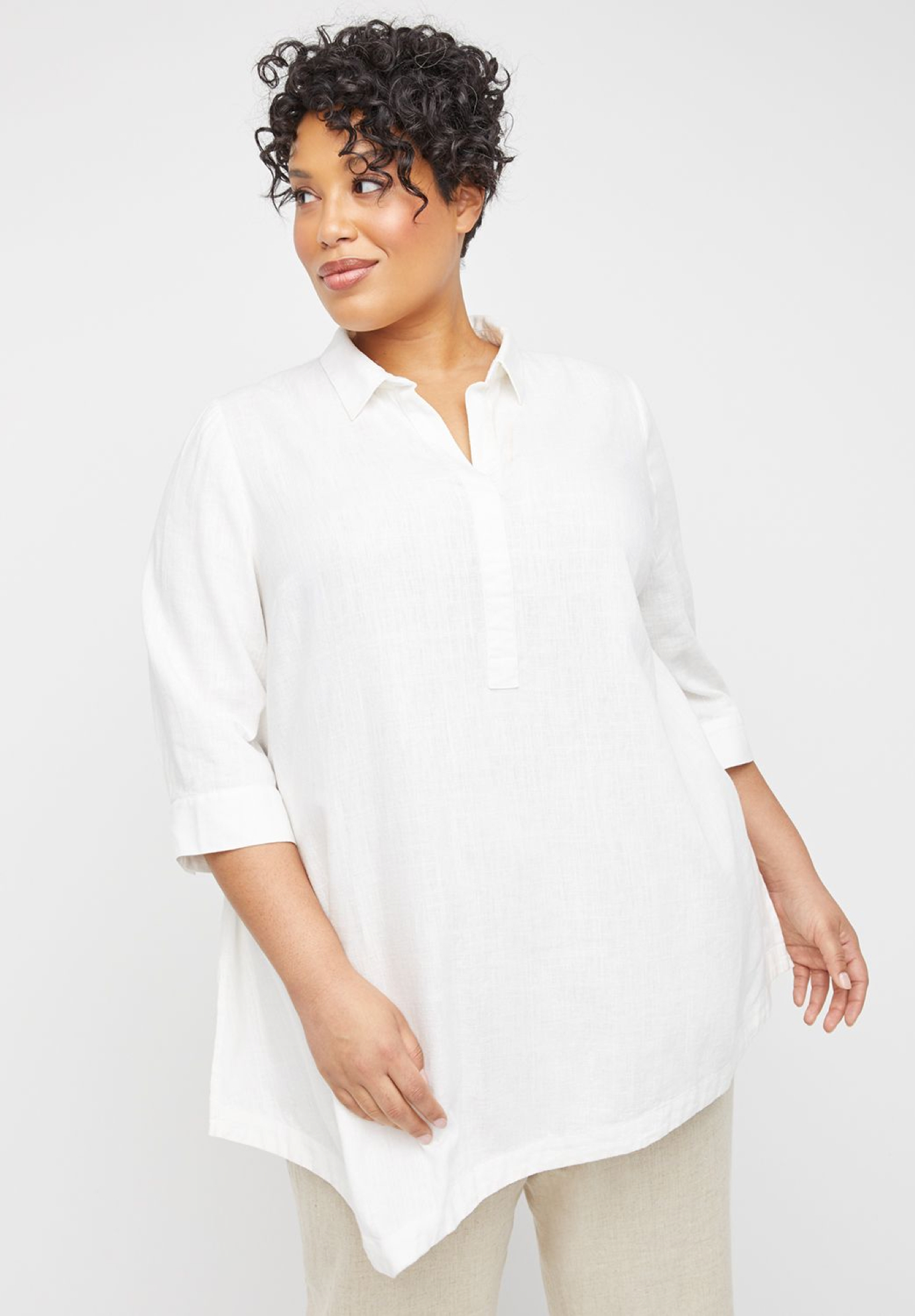Cape May Linen Blend Popover Tunic,