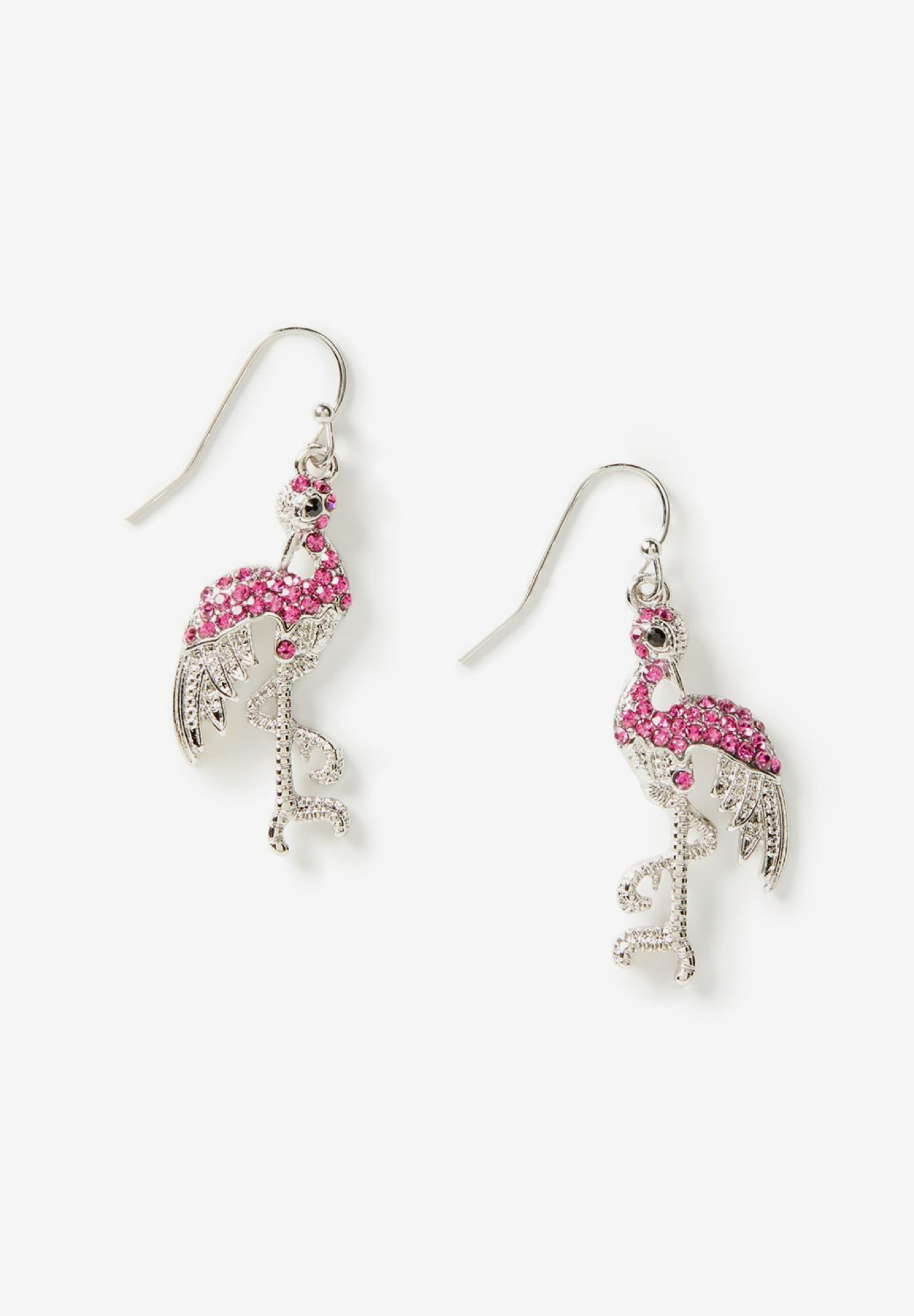 Pave Flamingo Drop Earrings, TIKI PINK