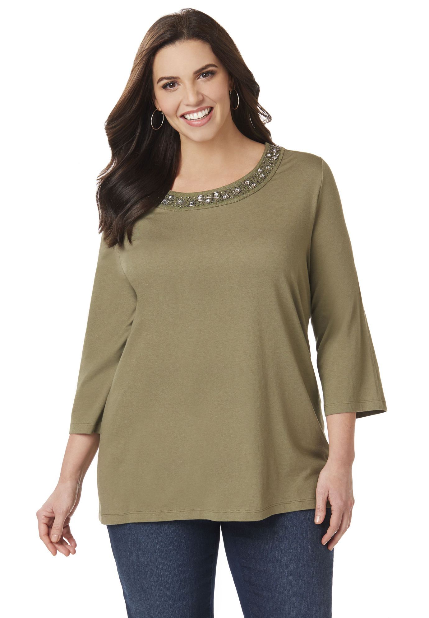 Embellished Neckline Top,