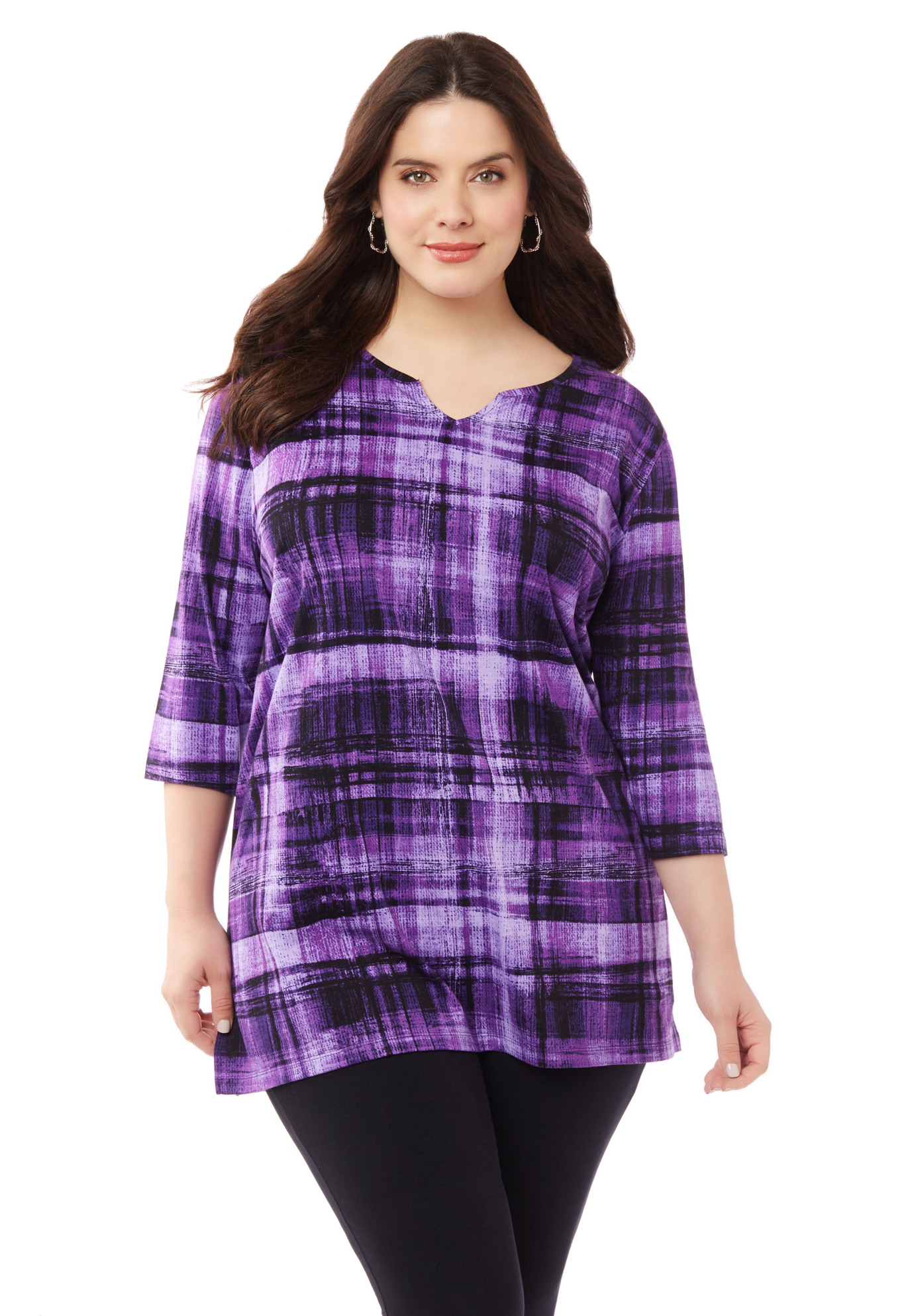 Boho Plaid Easy Fit Tee,