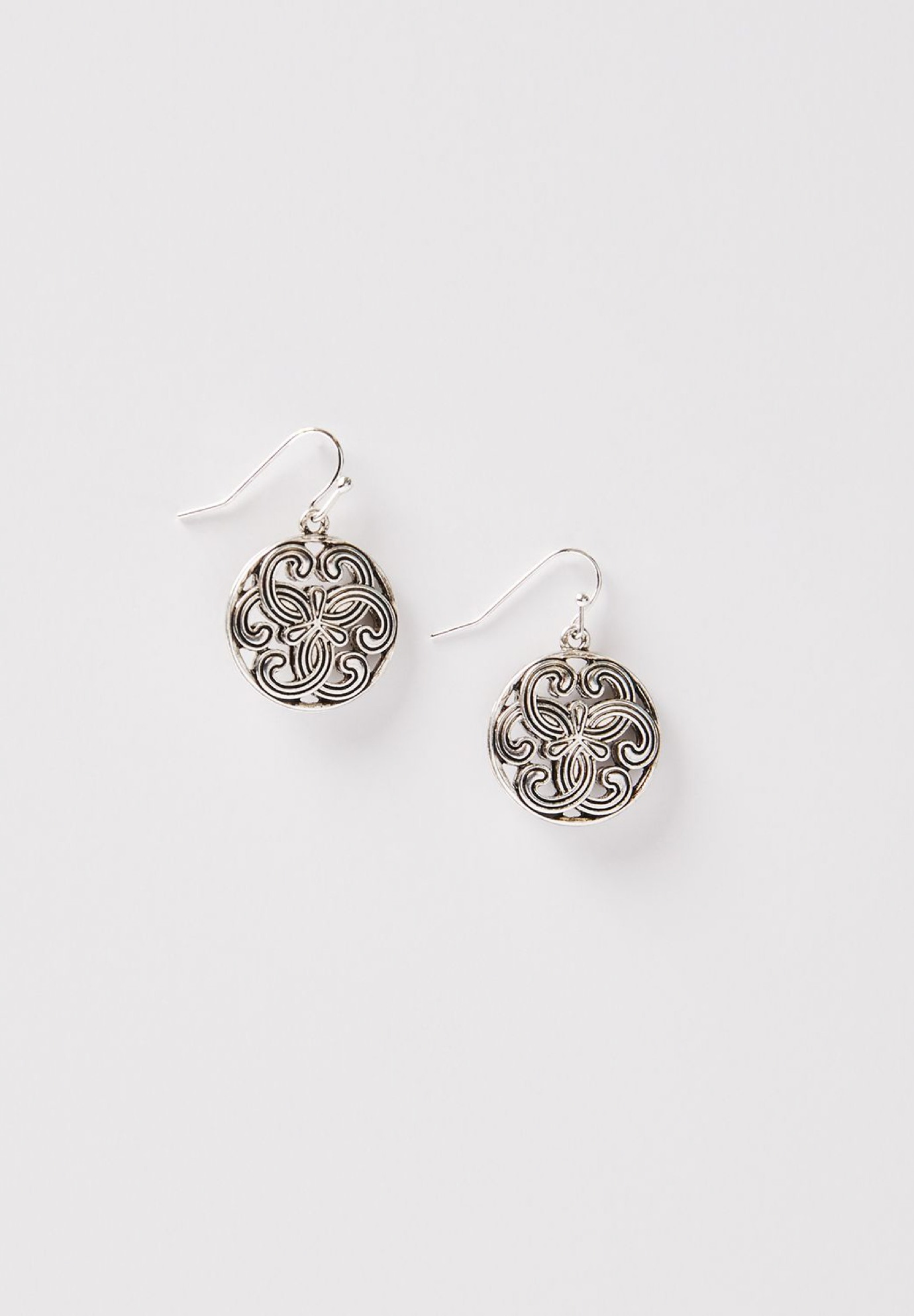 Medallion Swirl Drop Earrings, SILVER