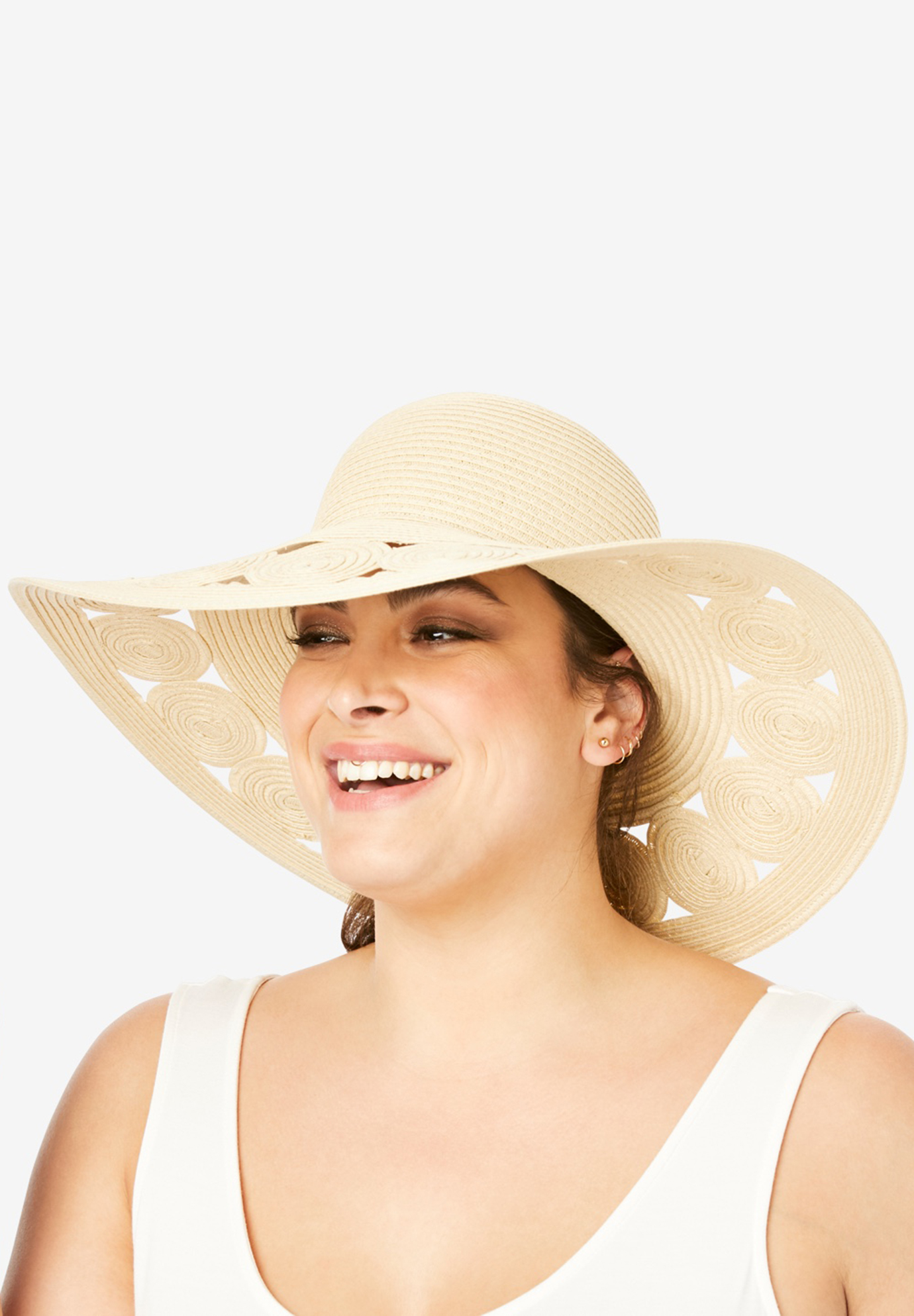 Floppy Hat with Cut-Out Brim, NATURAL