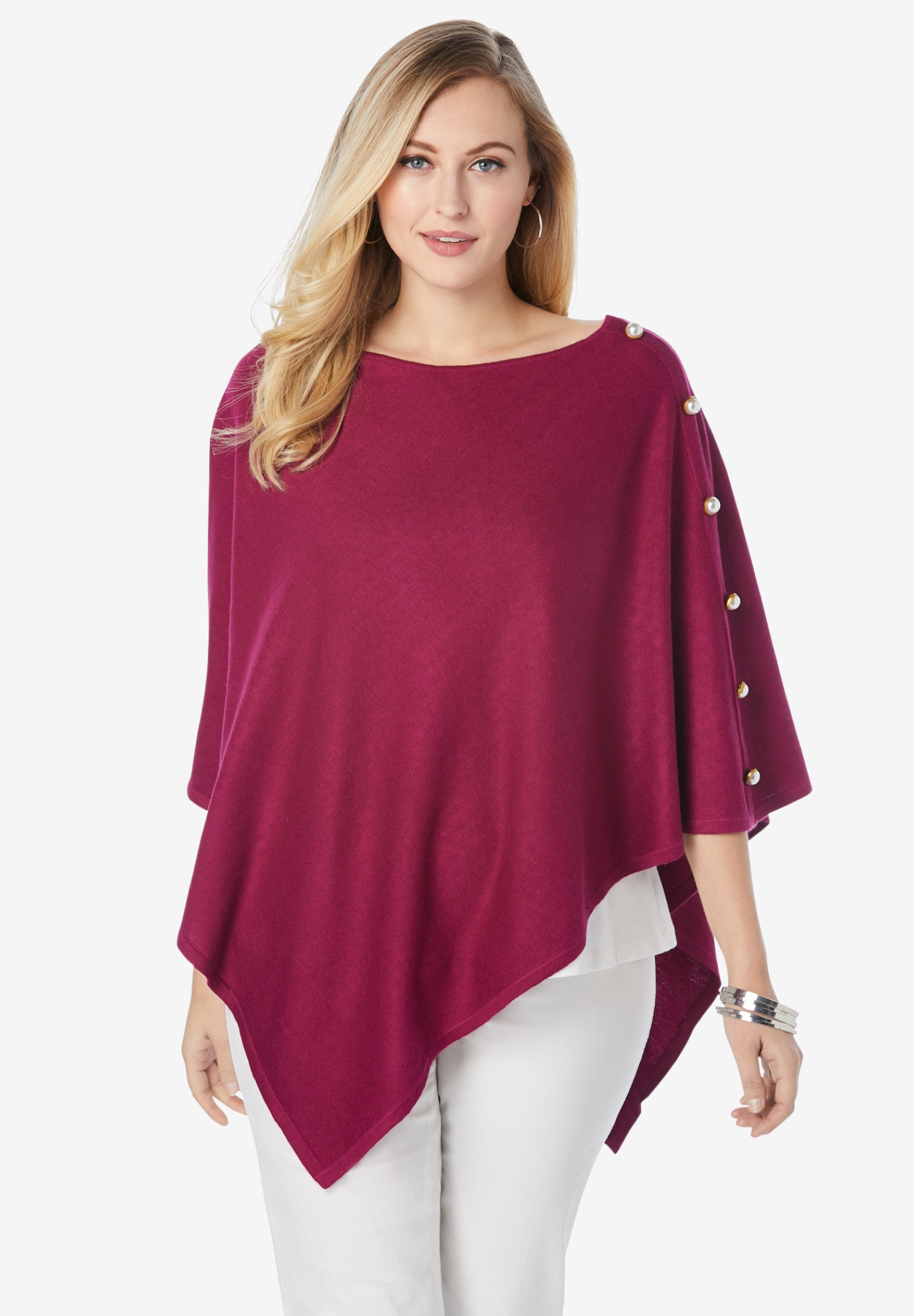 Cotton Cashmere Poncho Sweater,