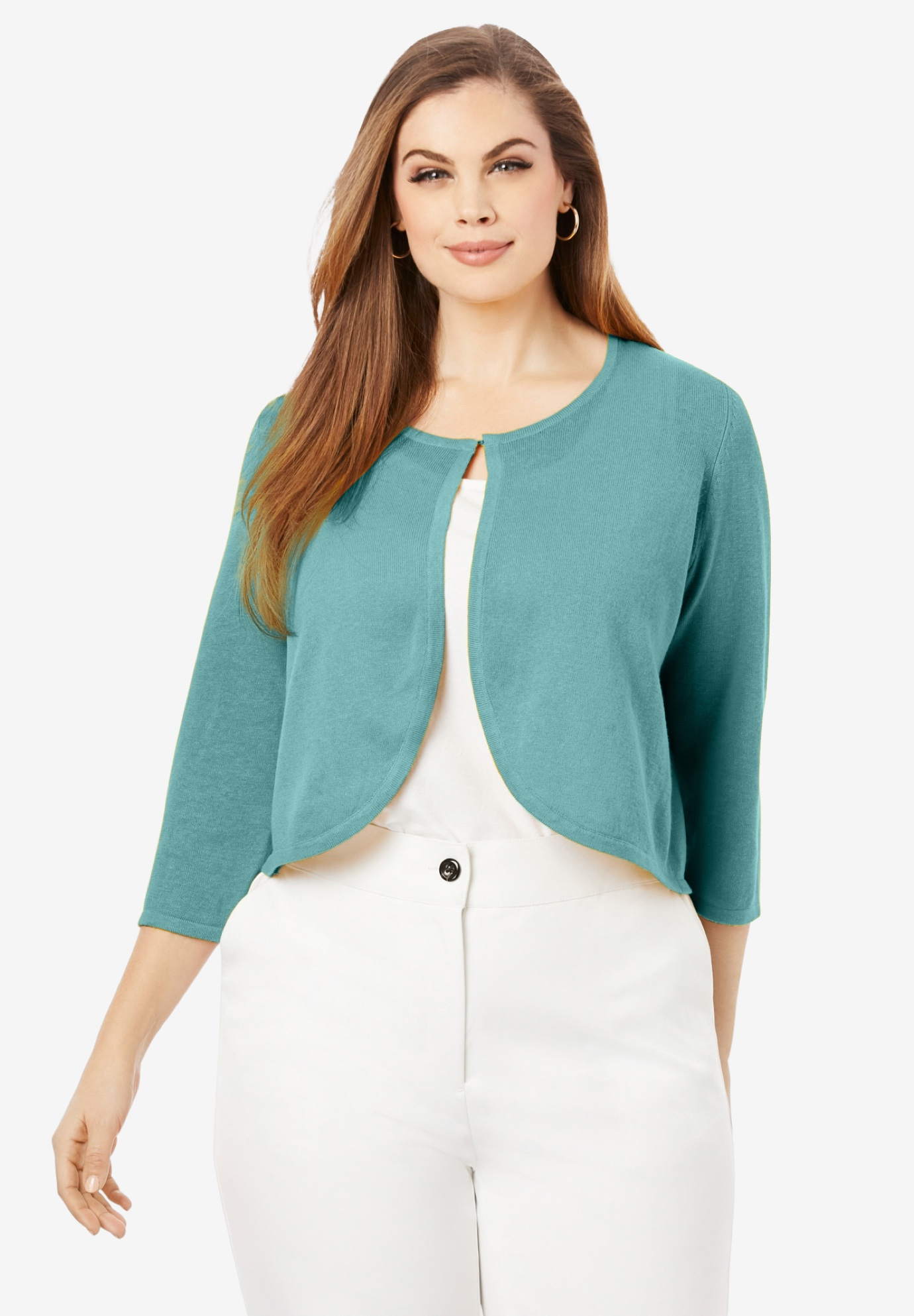 Curved Hem Sweater Shrug,