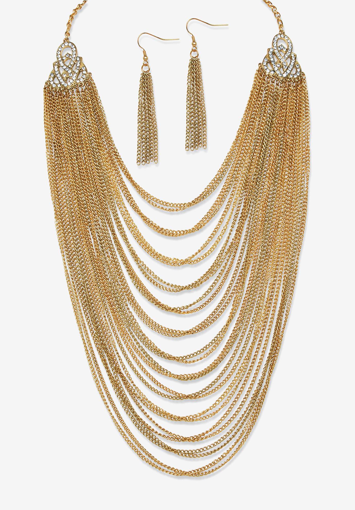 "Gold Tone Waterfall 22"" Necklace and Drop Earring Set, GOLD"