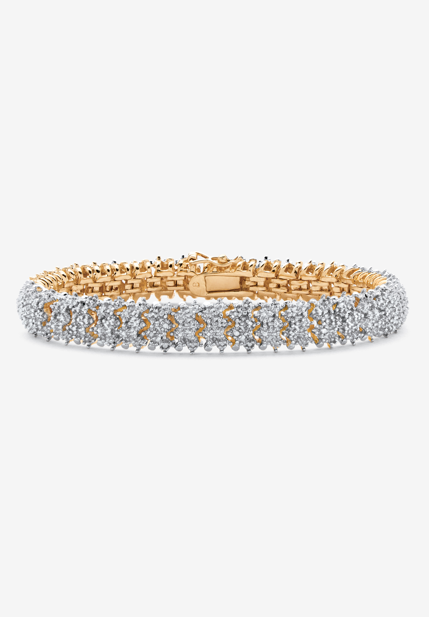 Gold-Plated Diamond Snake Bracelet, GOLD