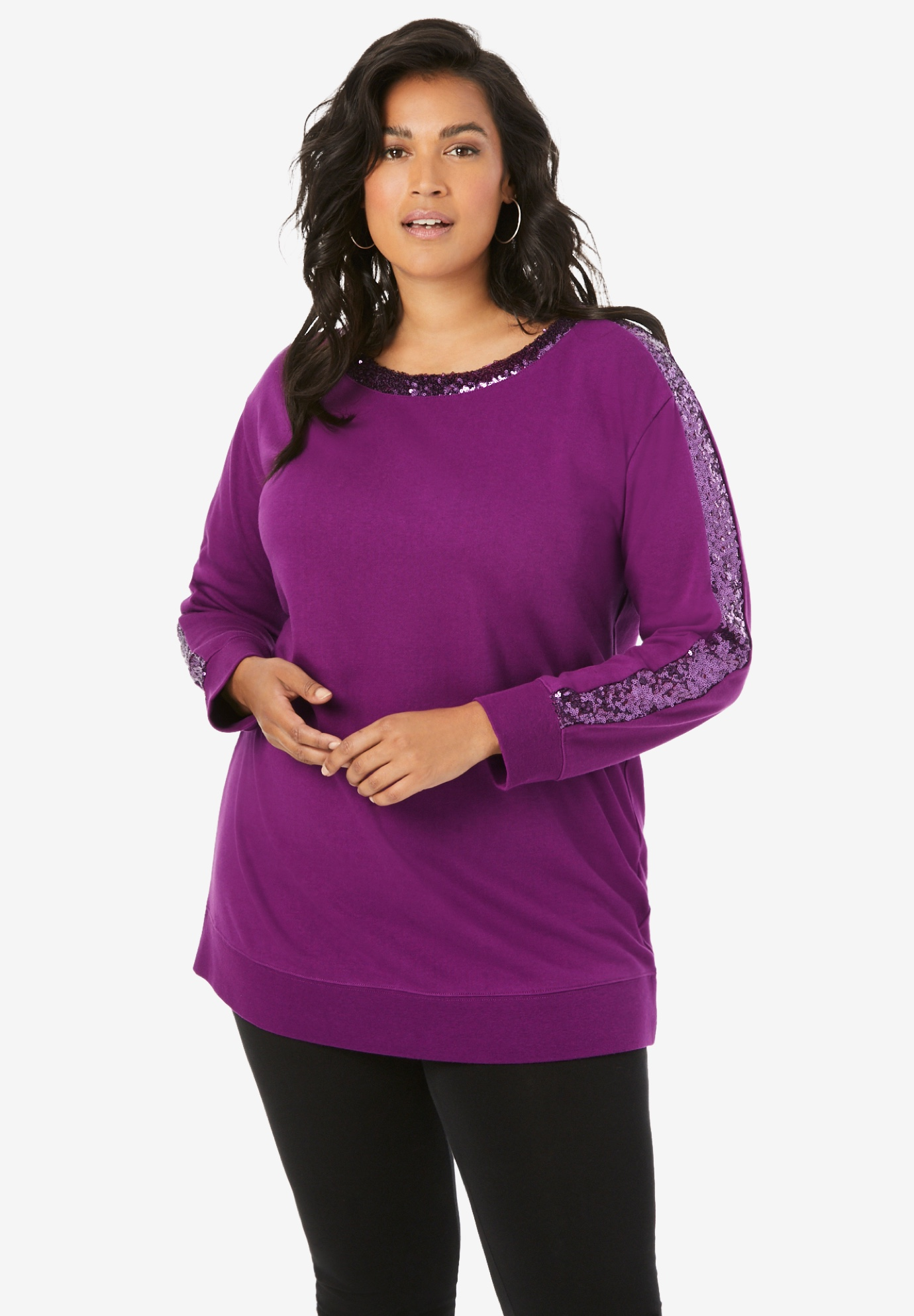 Sequin Sleeve Sweatshirt Tunic,