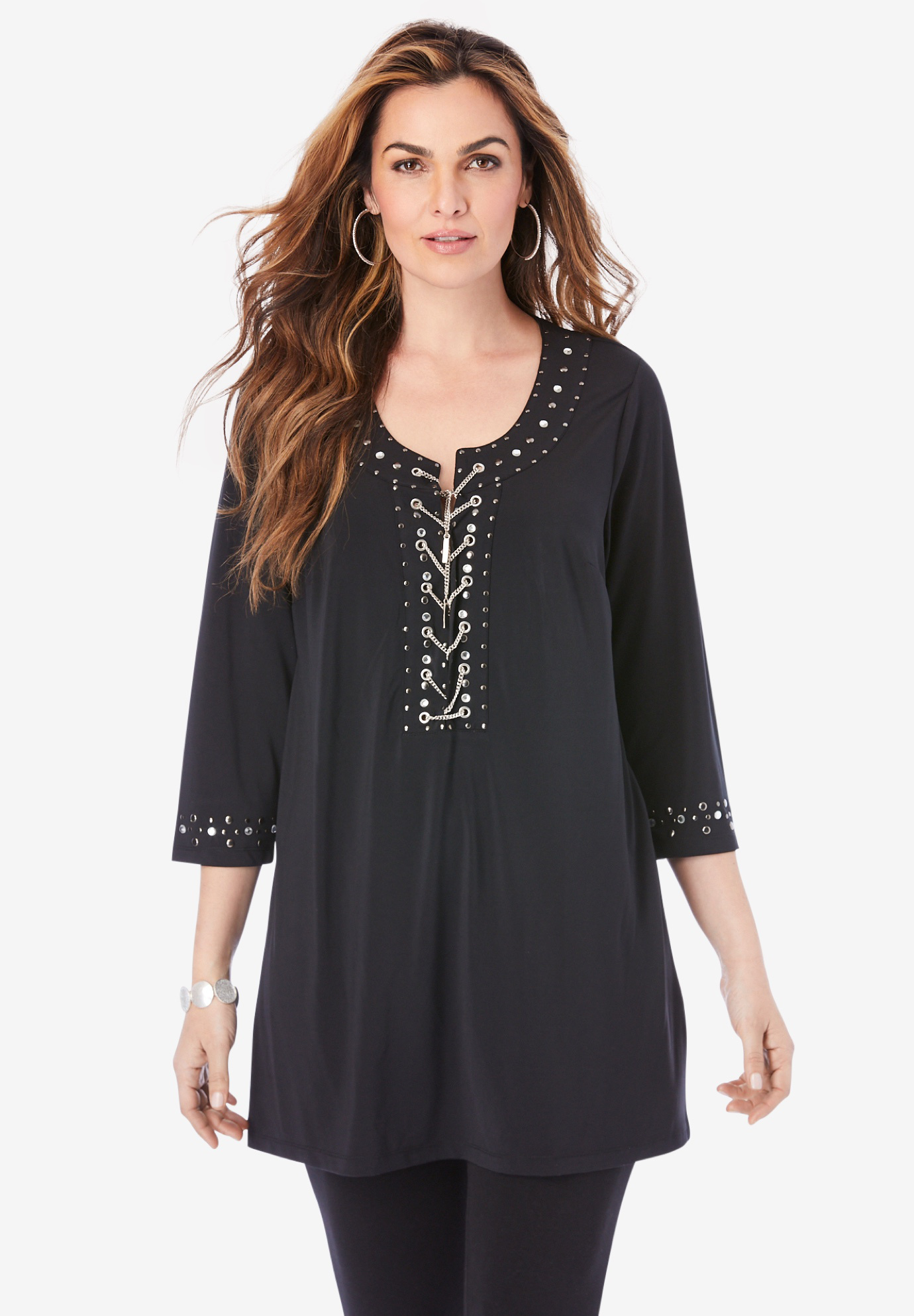 Ultra Smooth Rhinestone-Embellished Tunic,