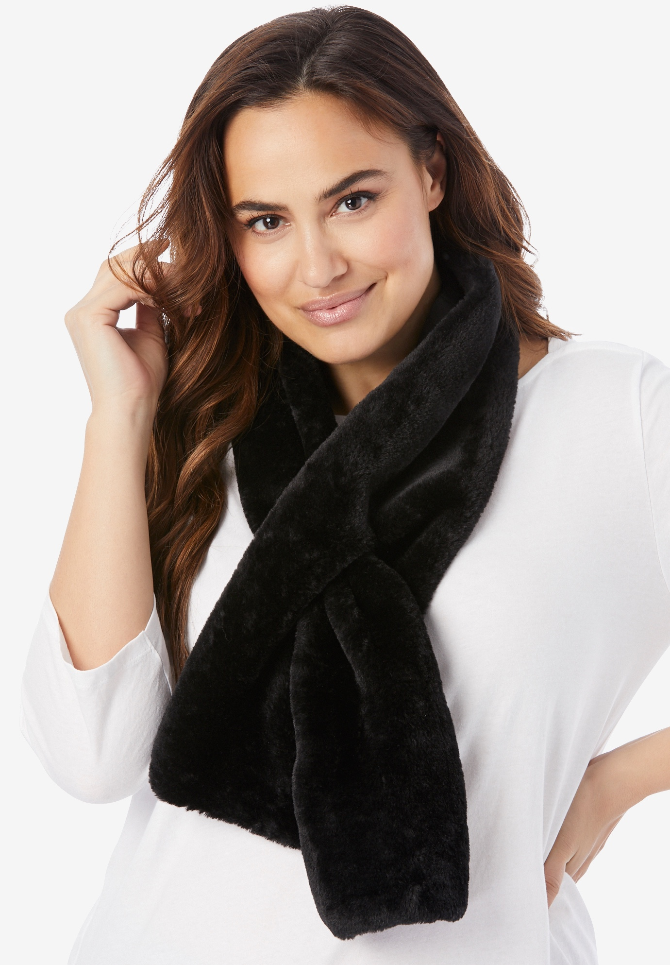 Faux-Fur Scarf, BLACK