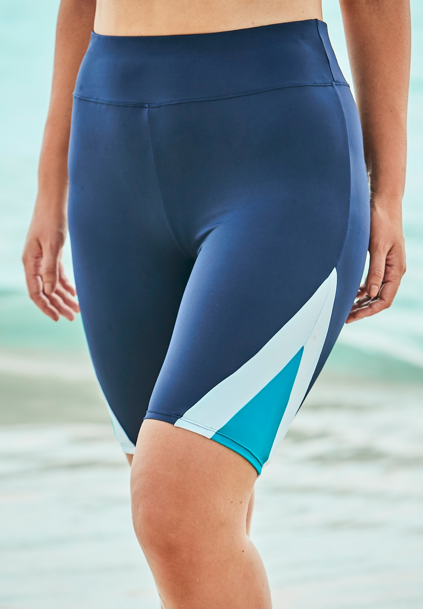 Colorblock Swim Shorts with Sun Protection ,
