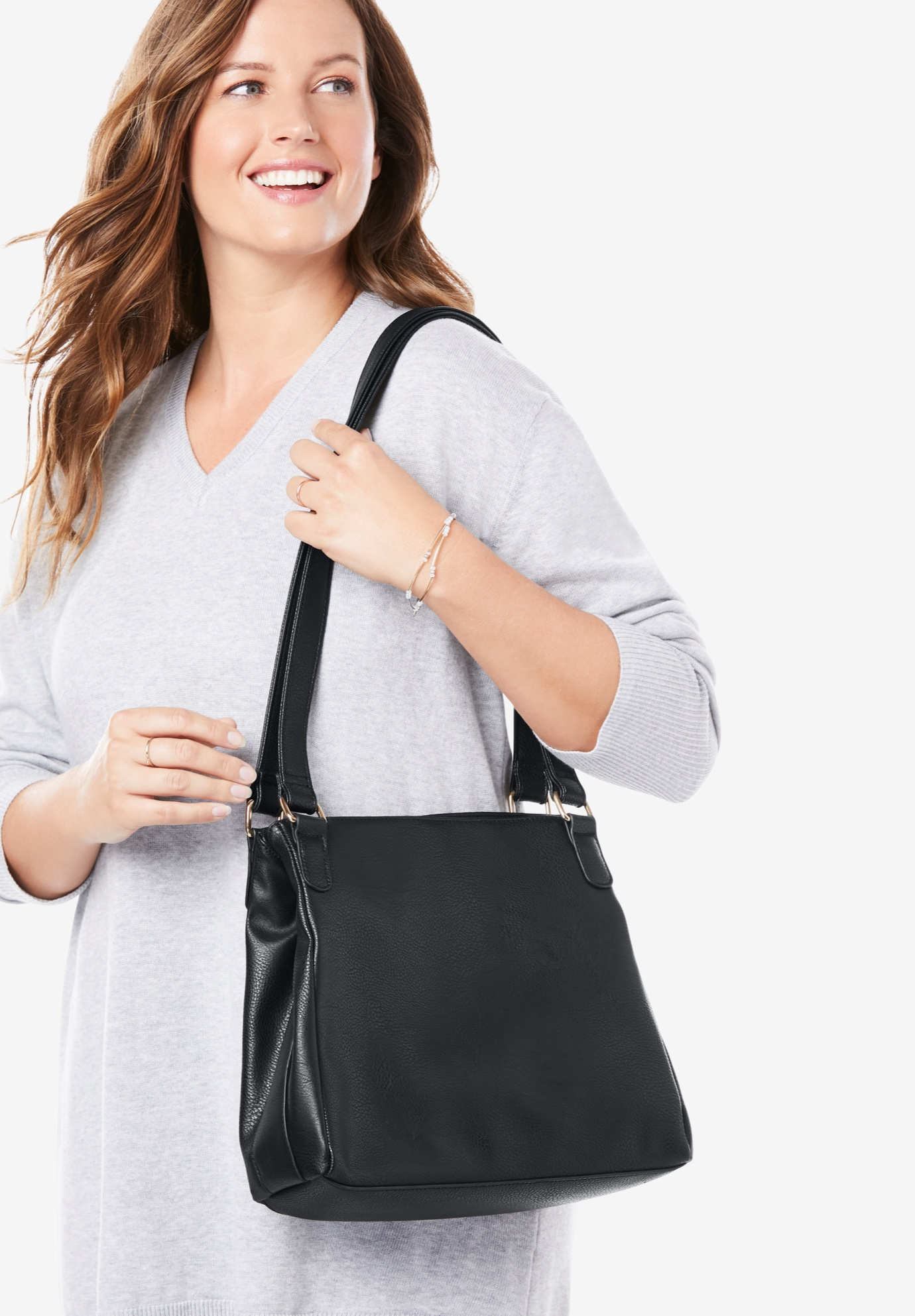 Faux Leather Casual Hobo Bag, BLACK