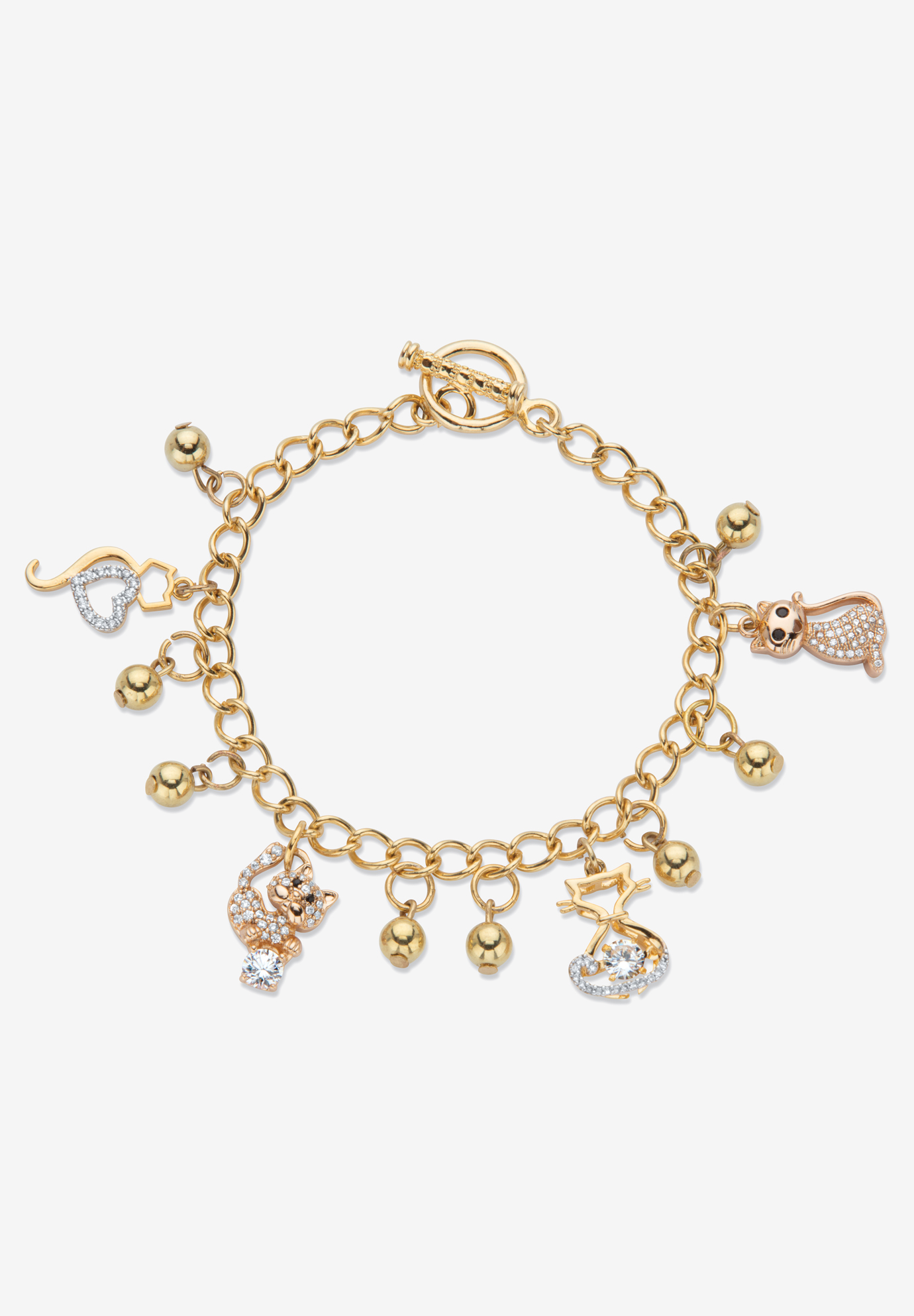 Gold Tone Round Crystal Cat Charm Bracelet, 7.5 inches, CRYSTAL