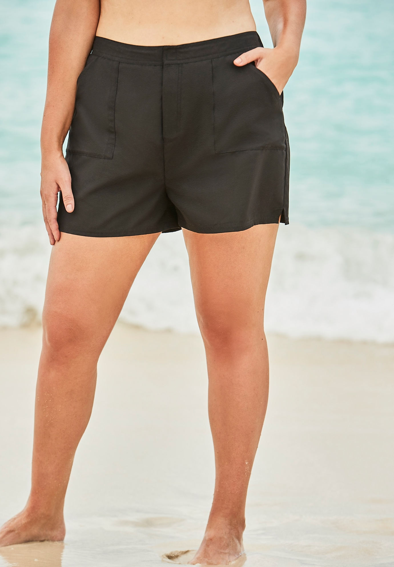 Cargo Swim Shorts with Side Slits ,