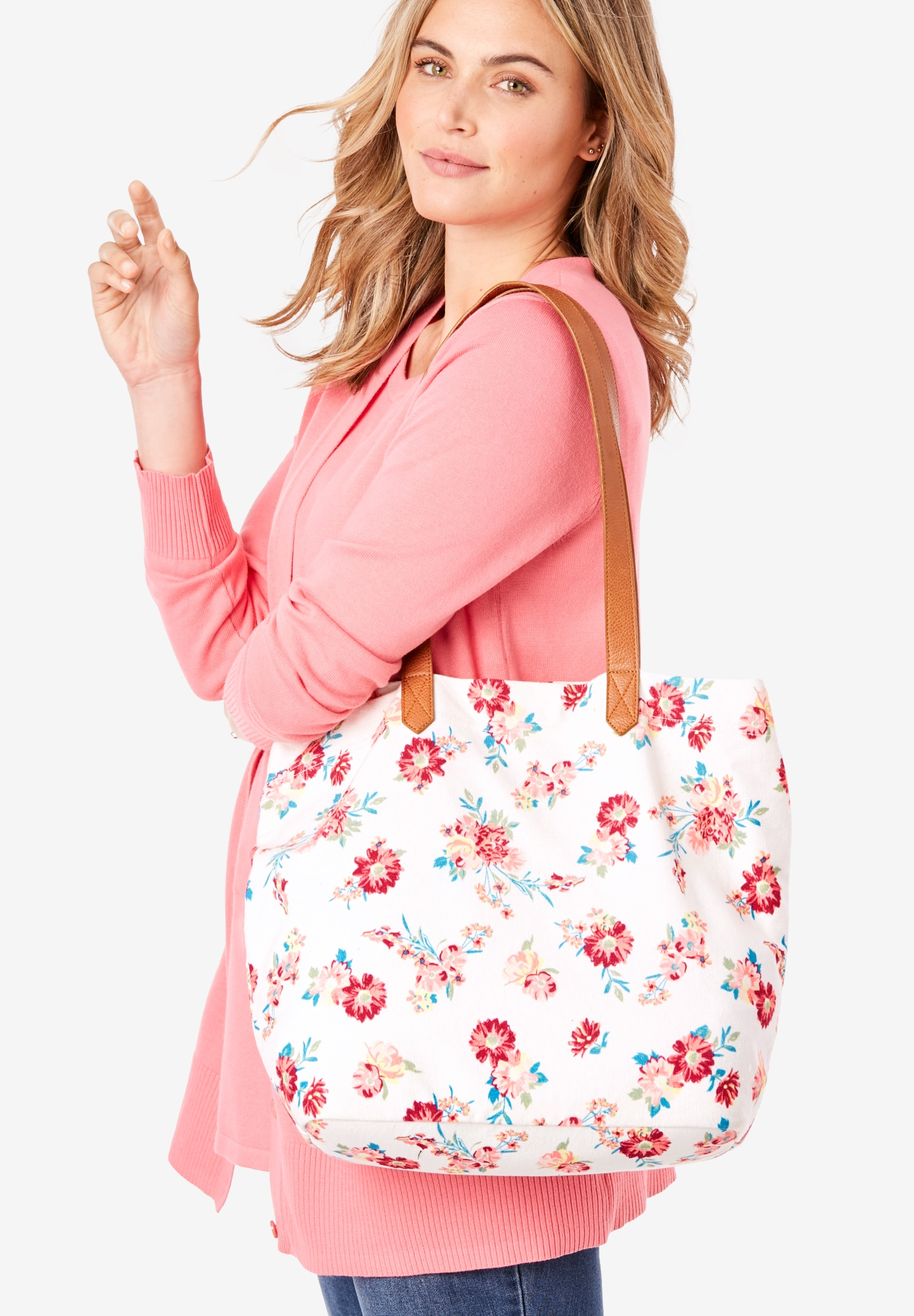 Printed Canvas Tote, WHITE SMALL DAISY