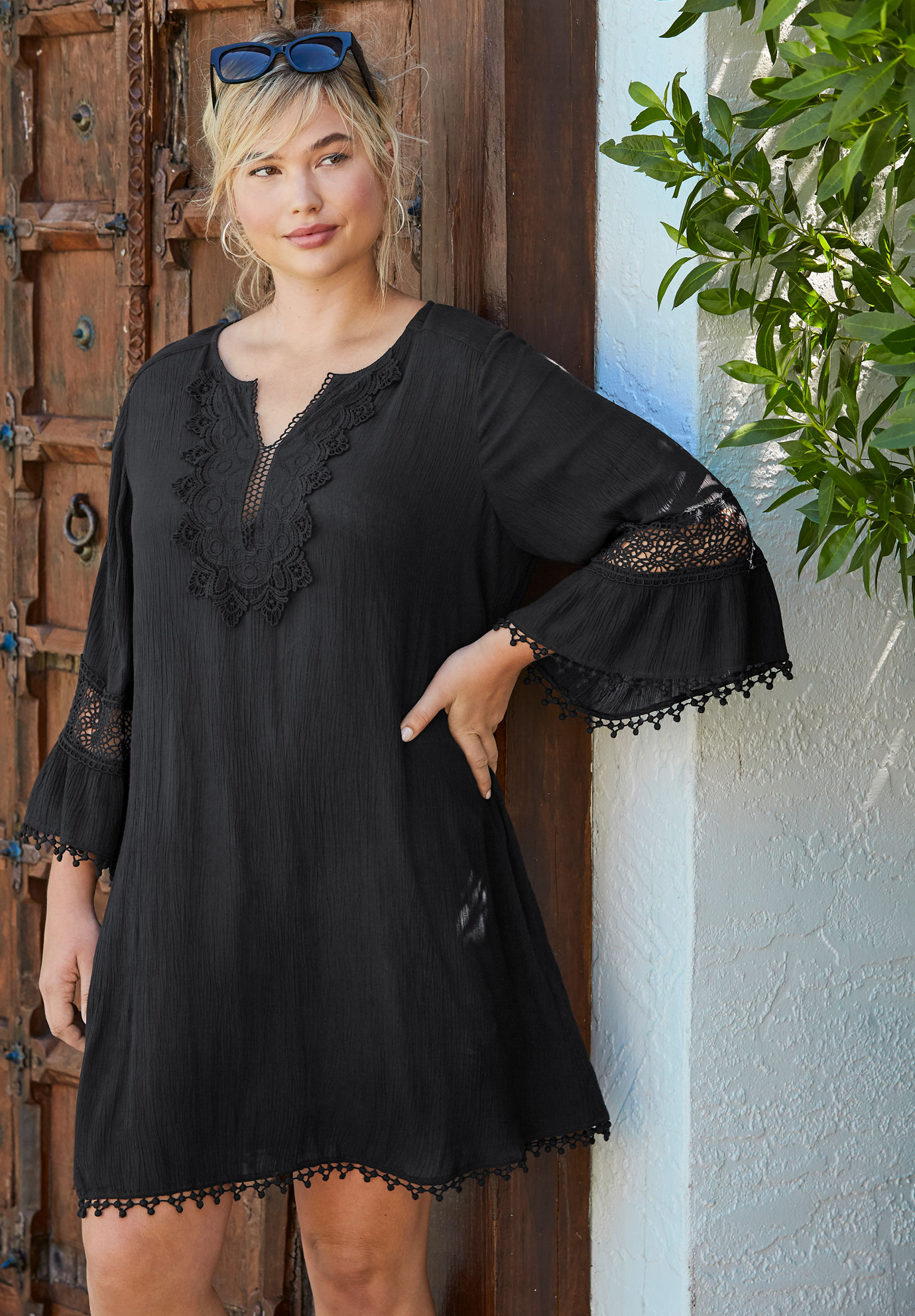Embroidered Crinkle Cover Up ,