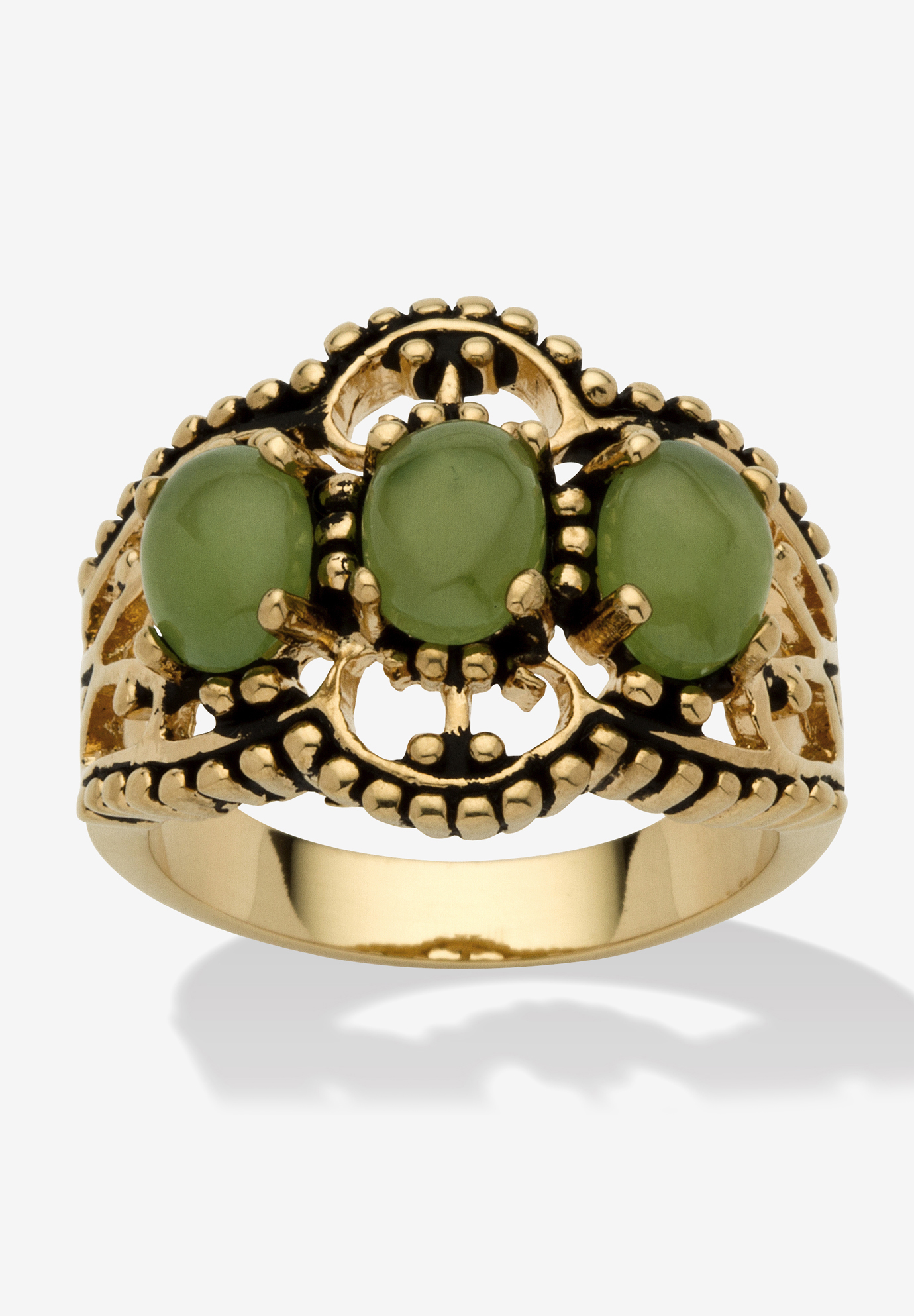 Yellow Gold-Plated Antiqued Genuine Green Jade Ring,