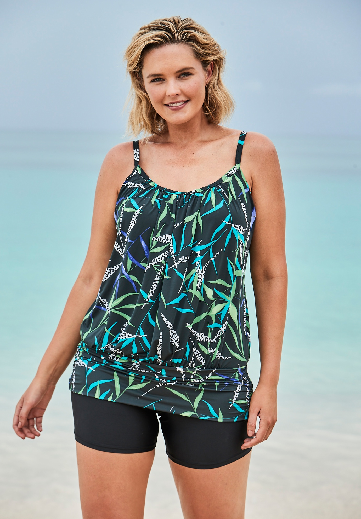 Blouson Tankini Top with Shirring ,
