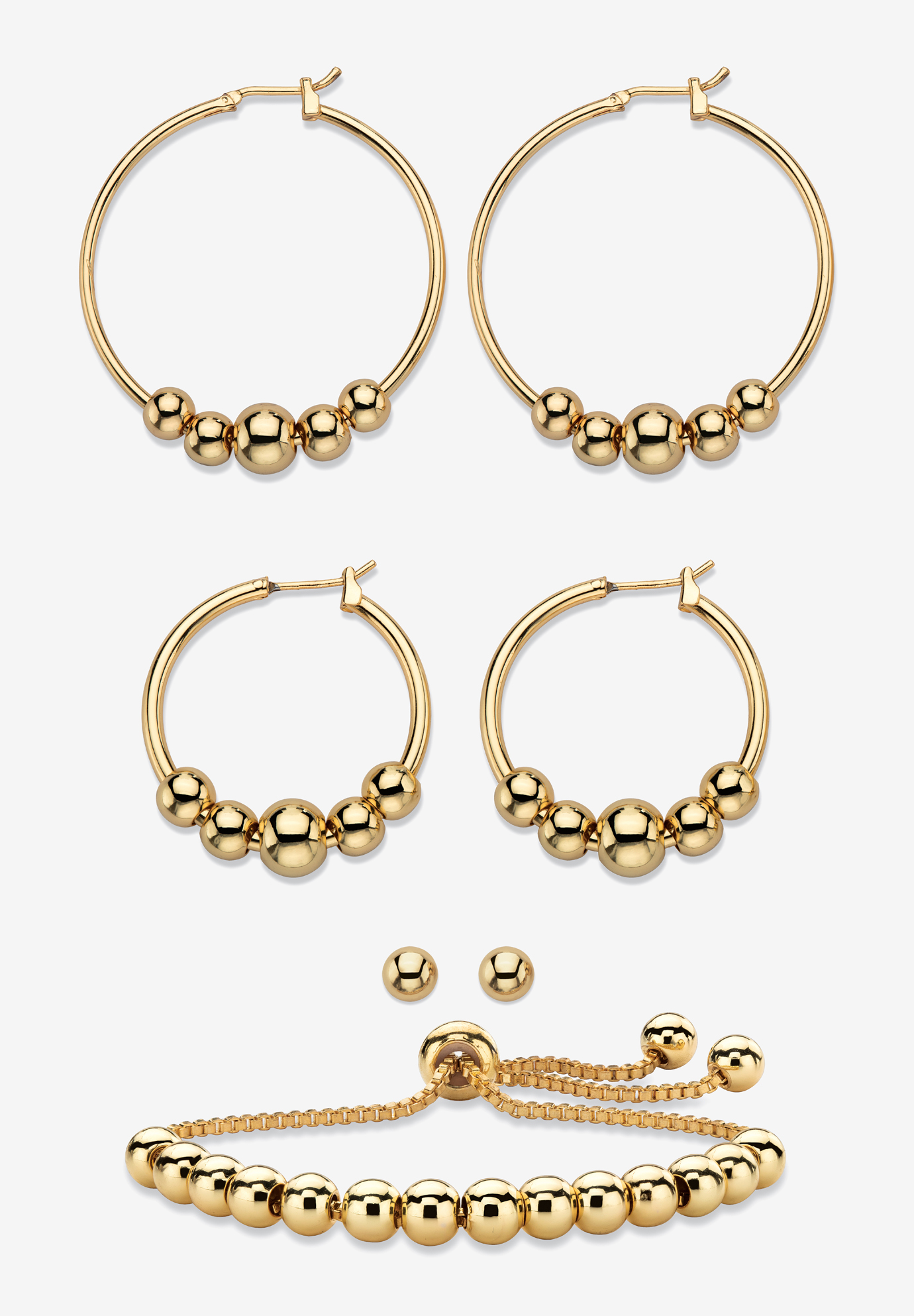 4-Piece Beaded Earrings and Bracelet Set in Goldtone, GOLD