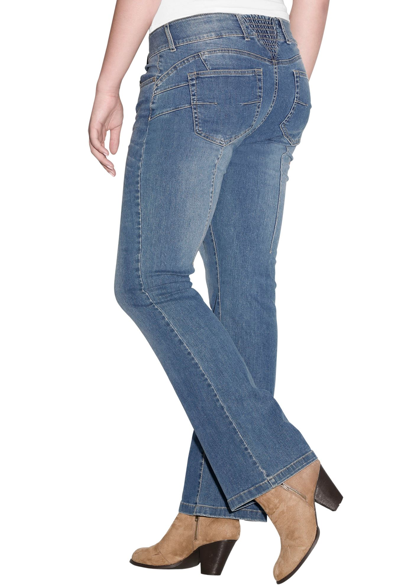 Back Elastic Bootcut Jeans,