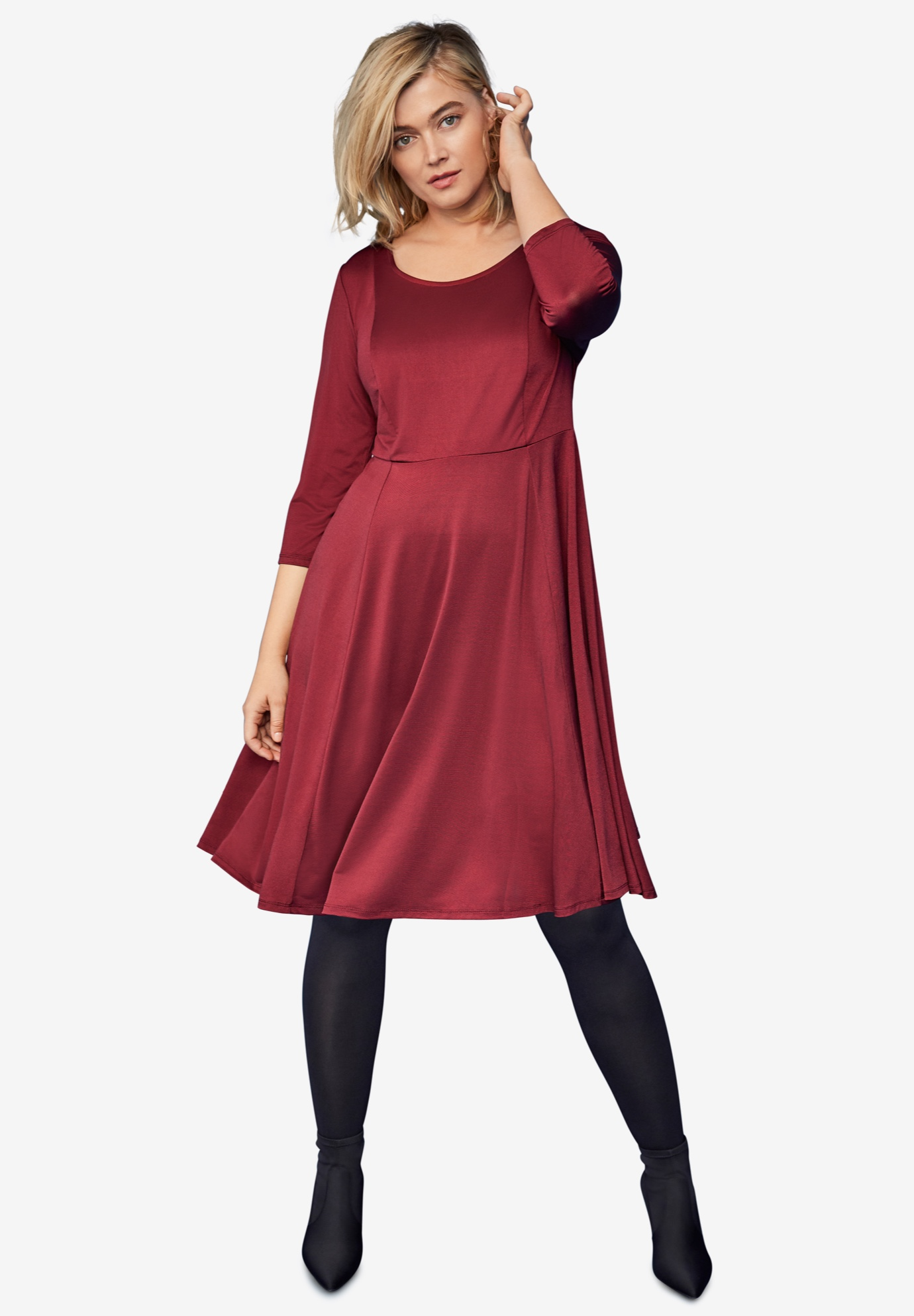 Fit-and-Flare Knit Dress,