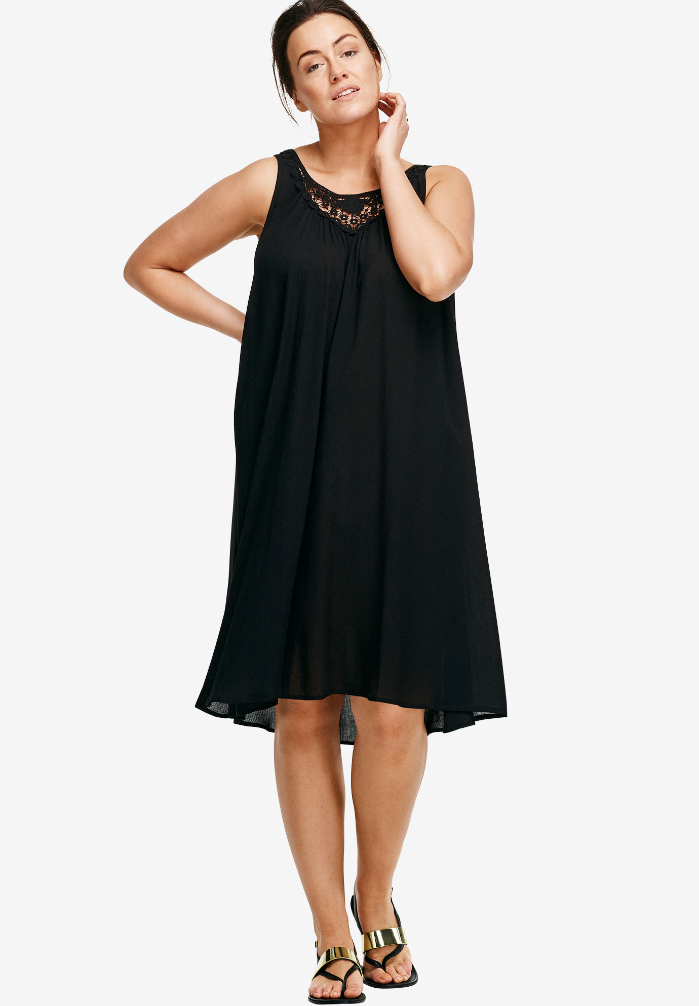 Lace Inset Trapeze Dress,