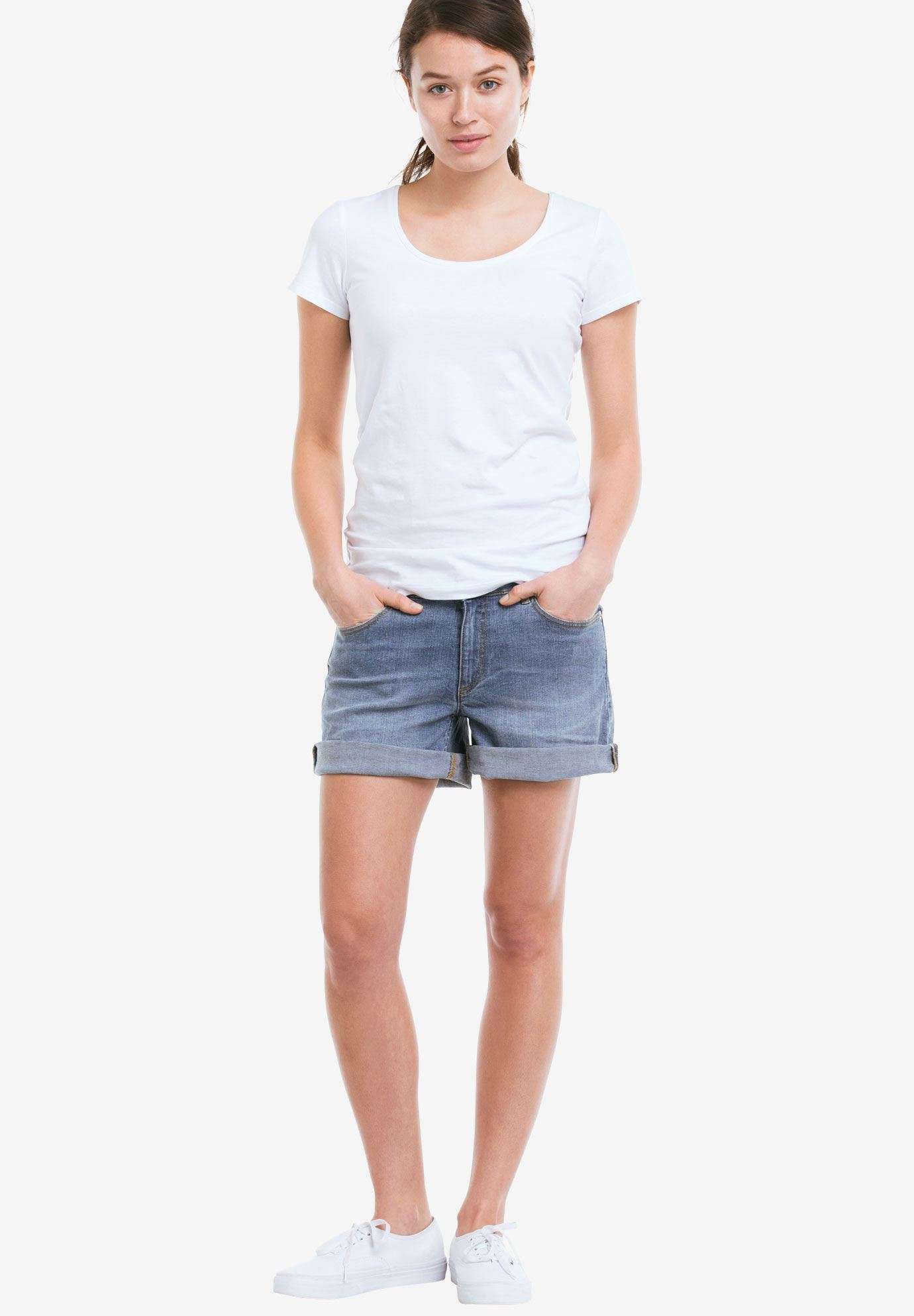 Rolled Hem Denim Shorts,