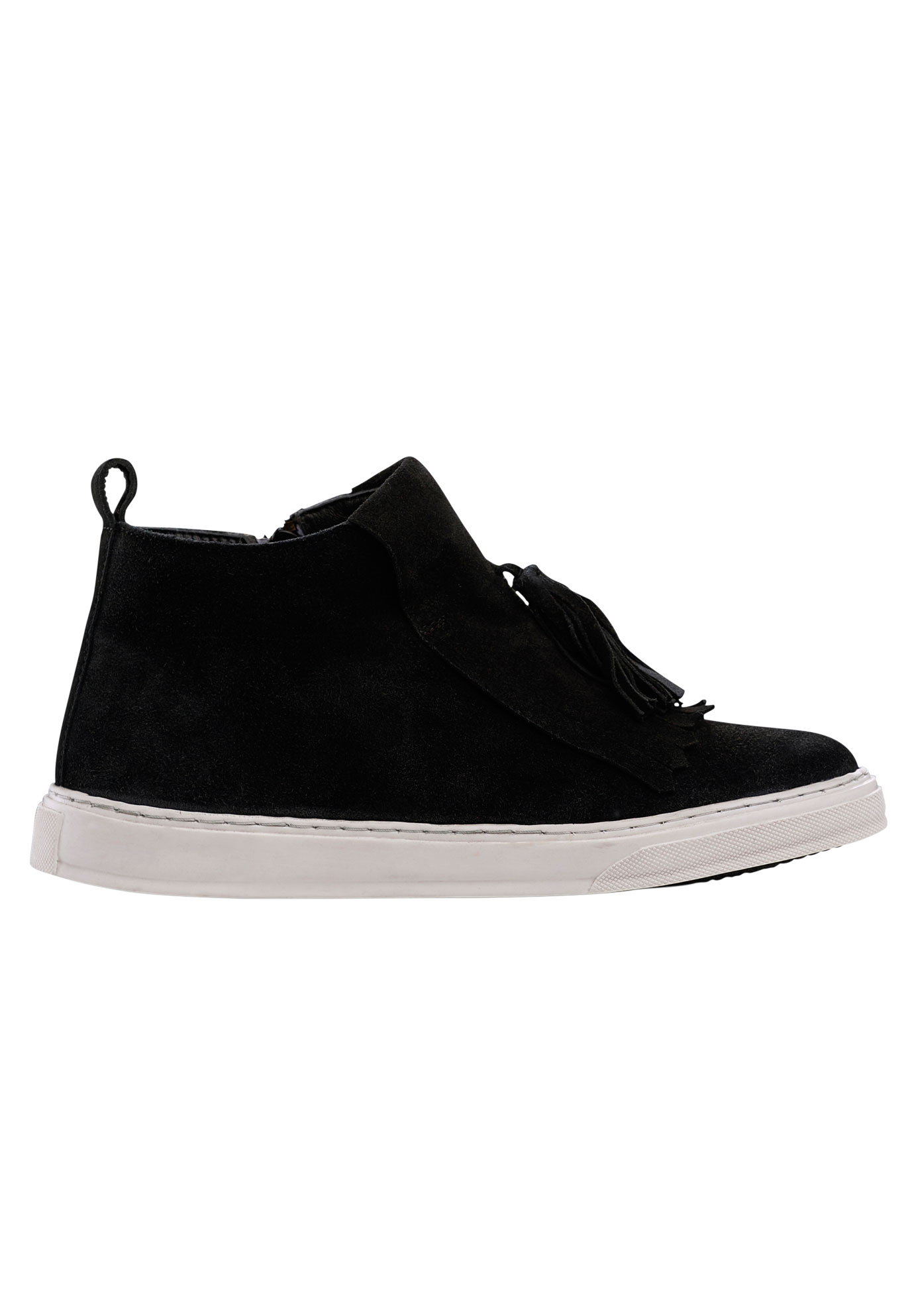 Fringe High Top Suede Sneaker,