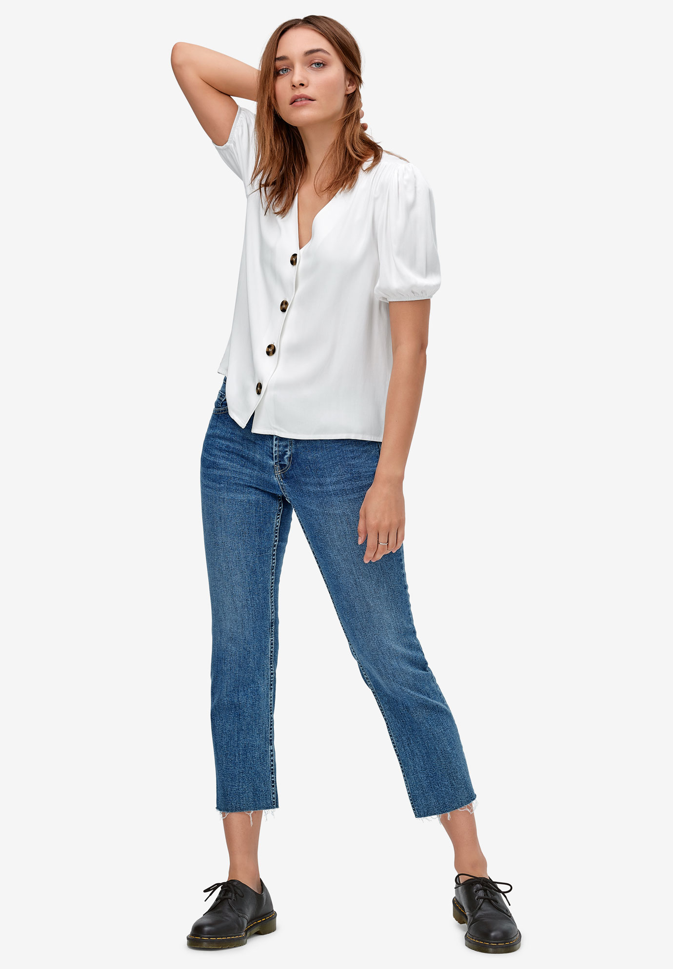Contrast Button-Front Blouse,