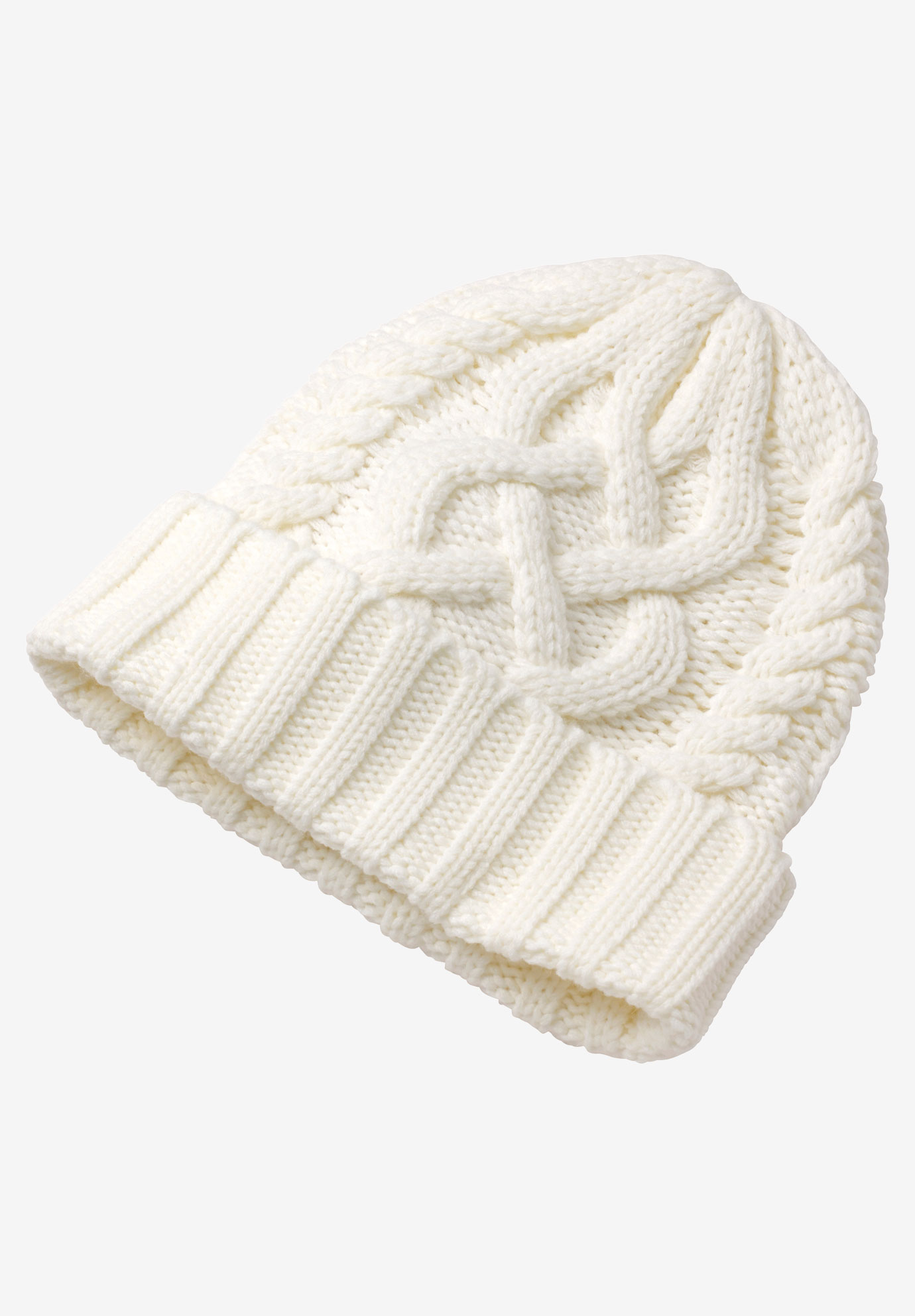 Cable Knit Hat, IVORY