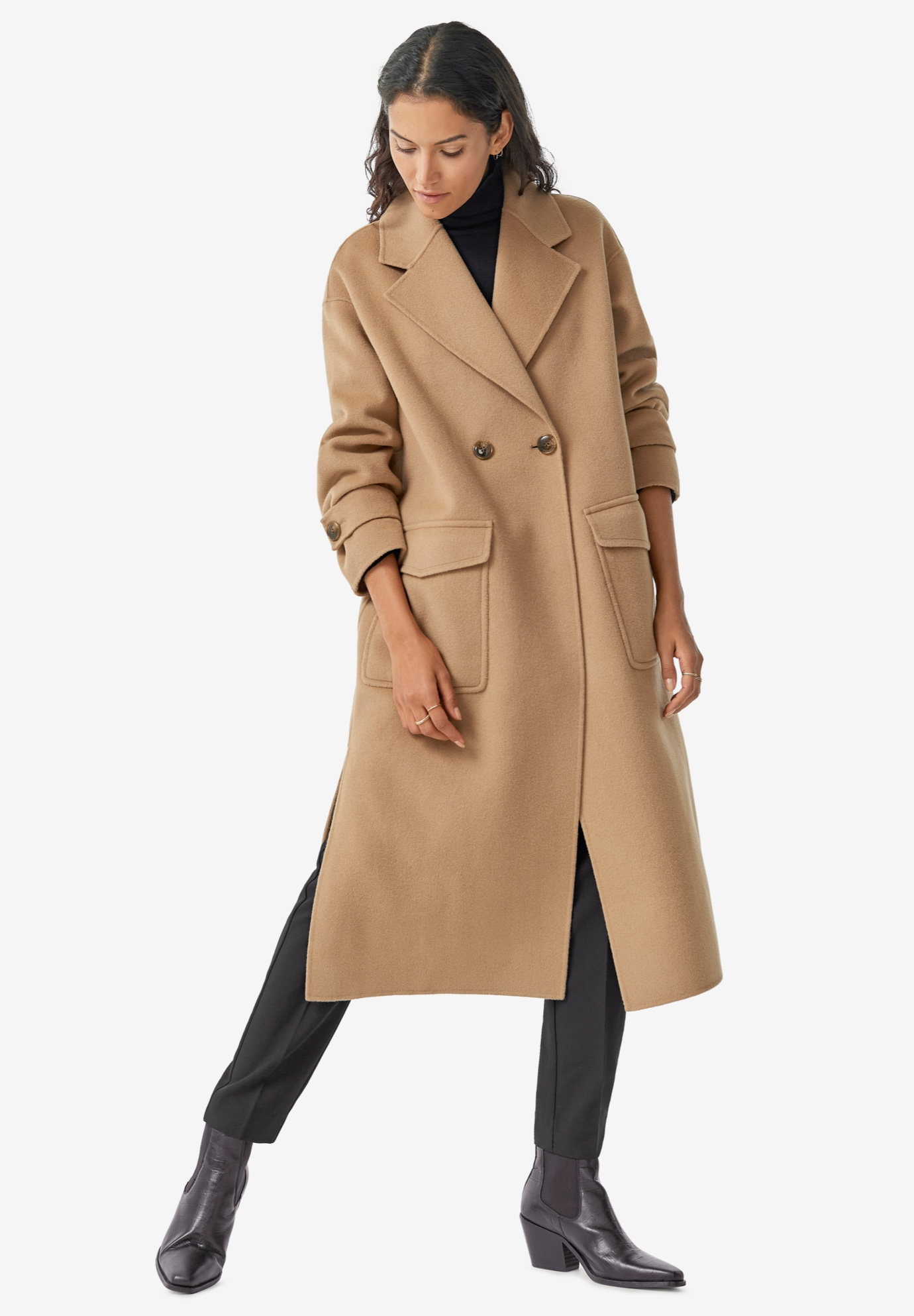 Double-Breasted Wool Blend Coat,