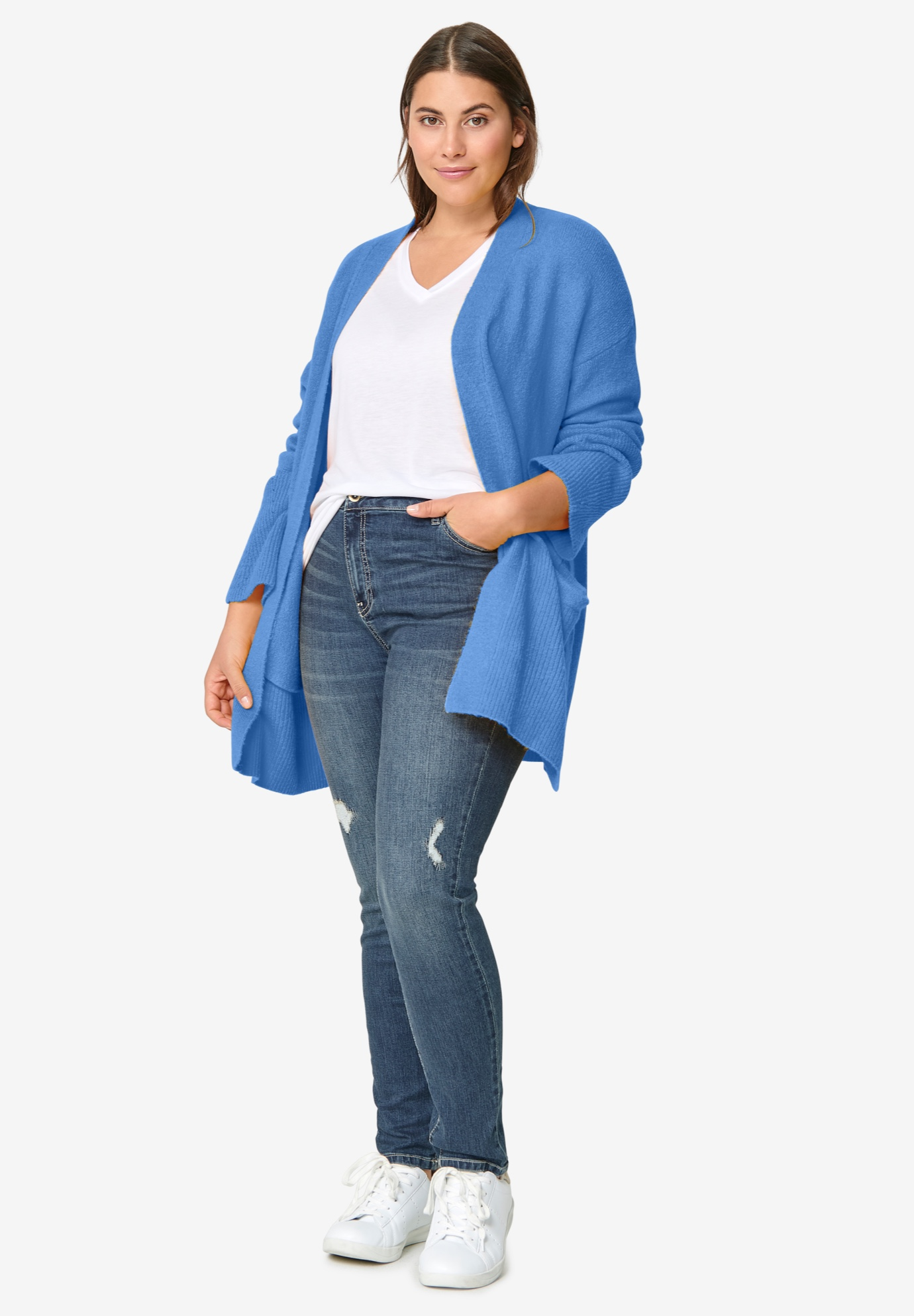 Pointelle Sleeve Cardigan,
