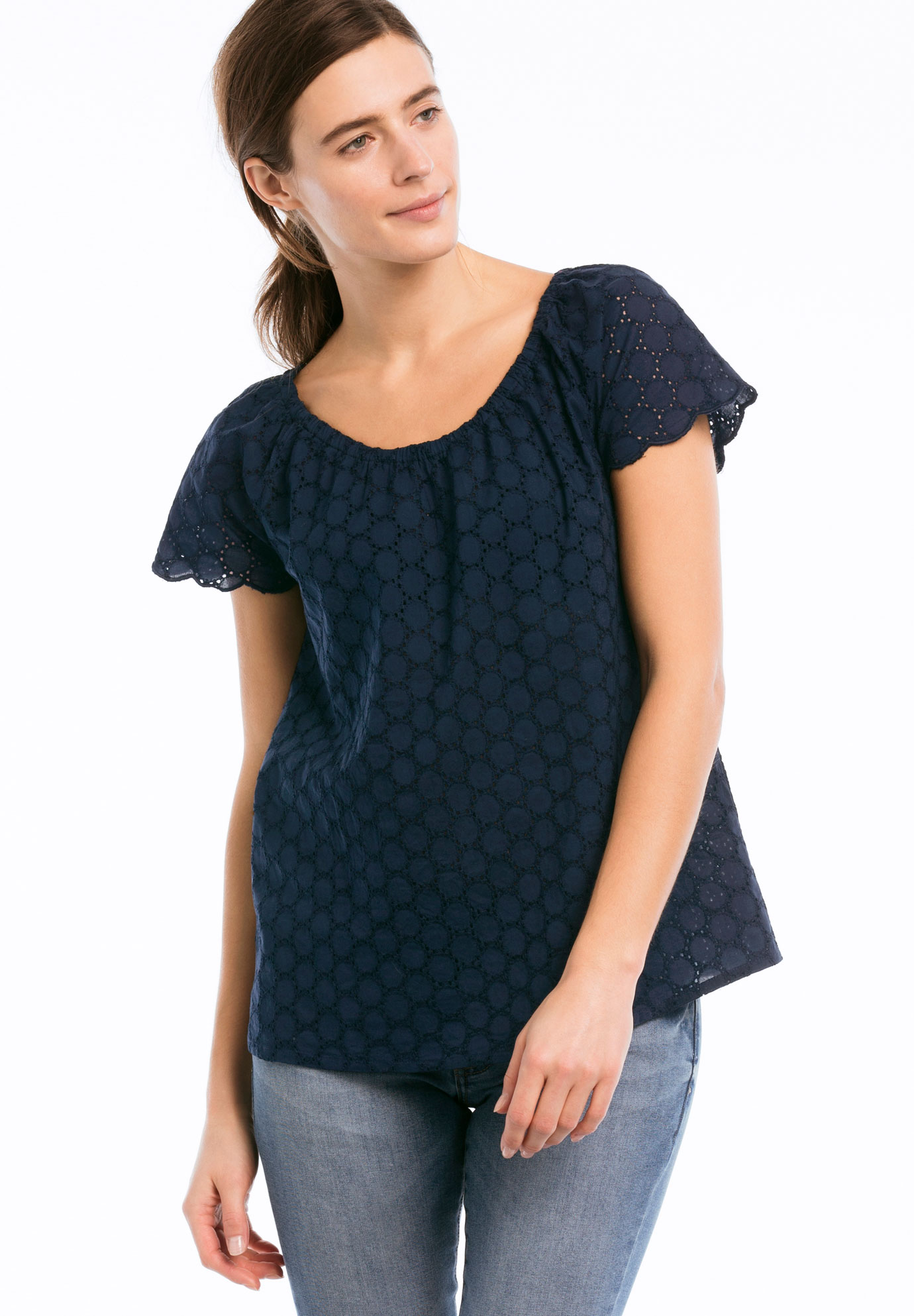 Ballet Neck Eyelet Blouse,